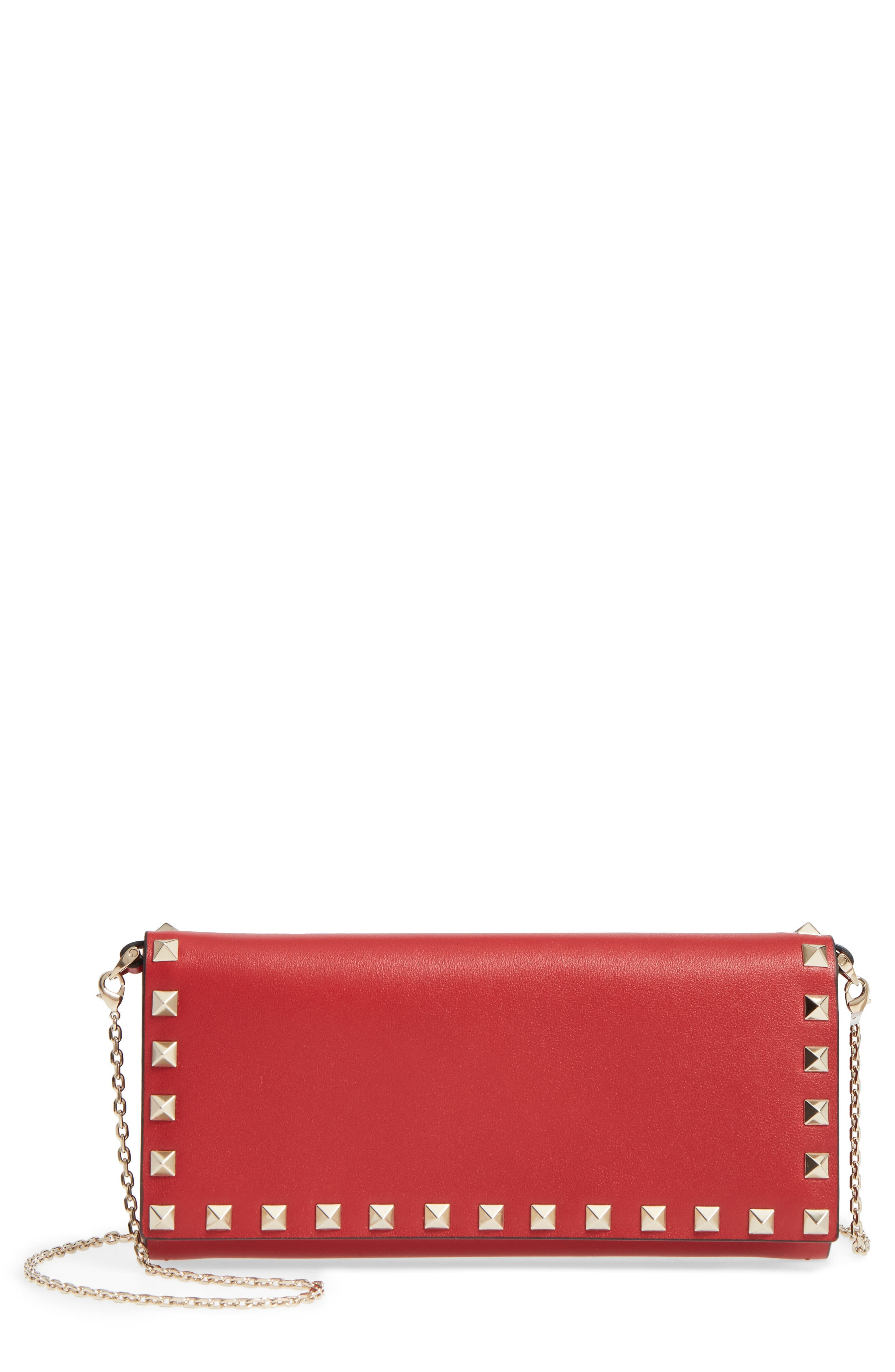 Rockstud Leather Wallet on a Chain,                             Main thumbnail 1, color,                             Rossa