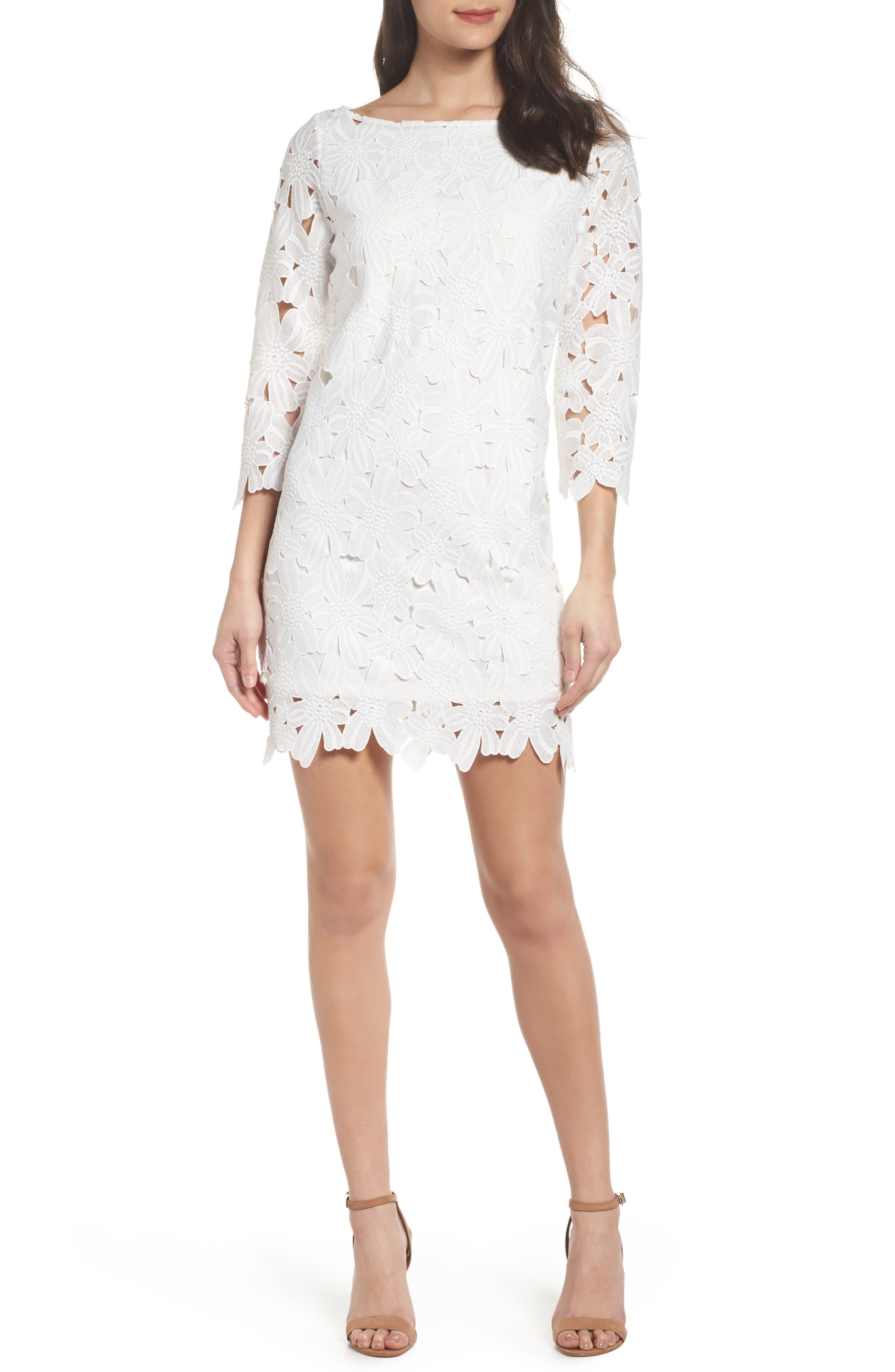 Belza Floral Lace Shift Dress,                         Main,                         color, White