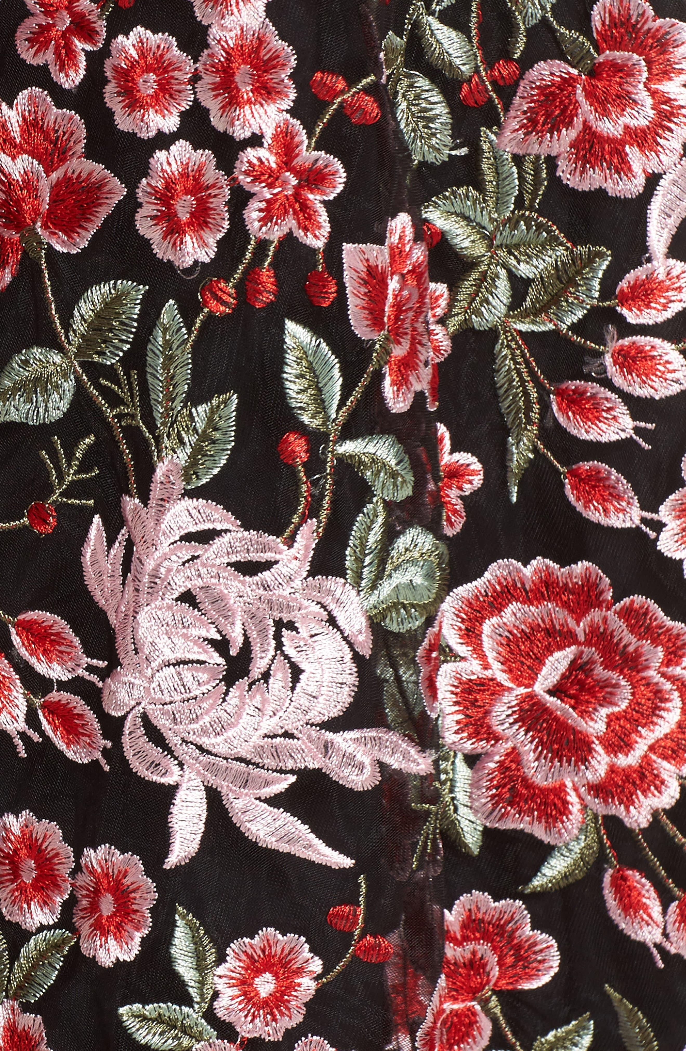 Cosette Embroidered Strapless Dress,                             Alternate thumbnail 5, color,                             Black Multi