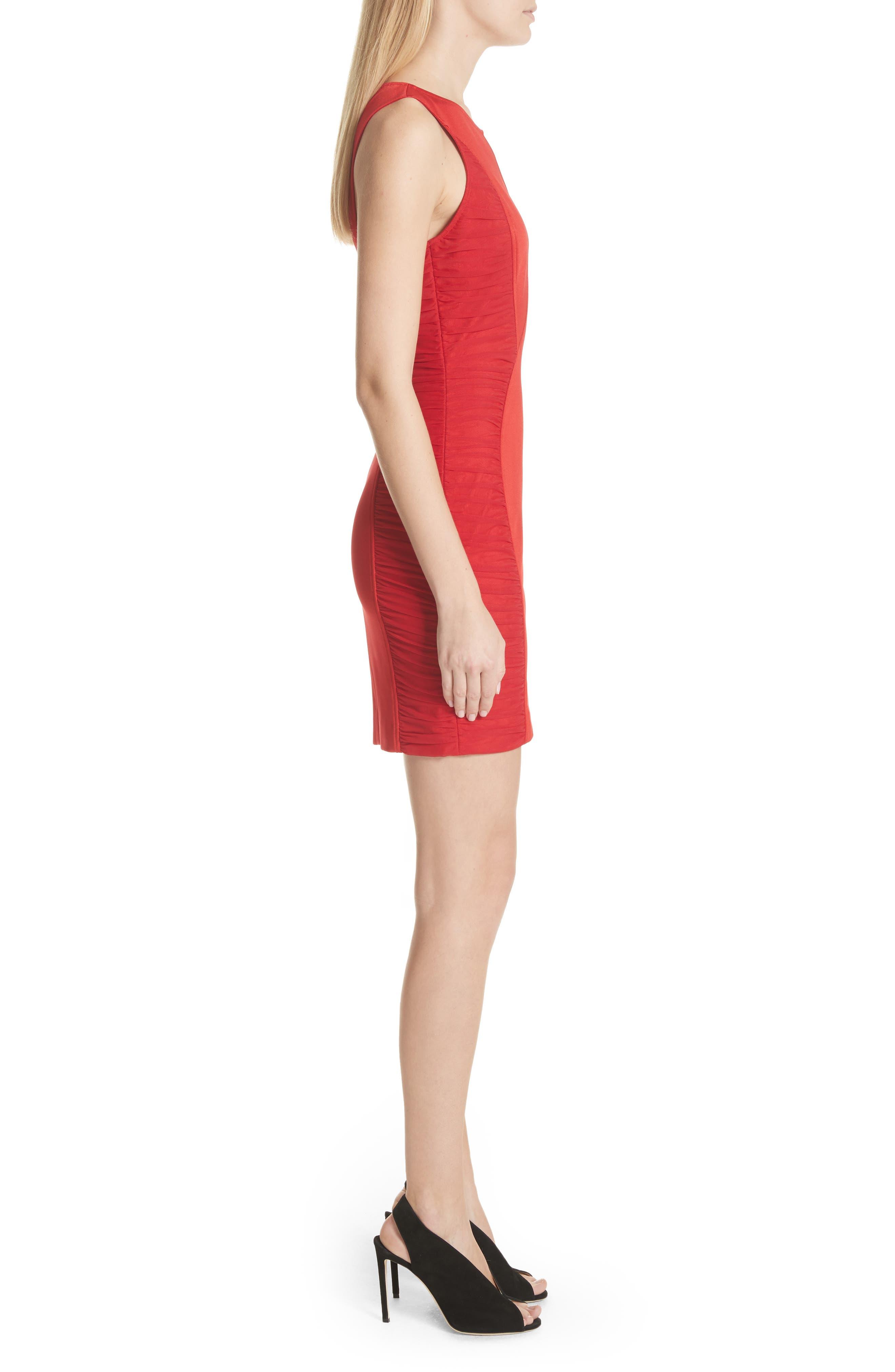 Ruched Piqué Sheath Dress,                             Alternate thumbnail 3, color,                             Red