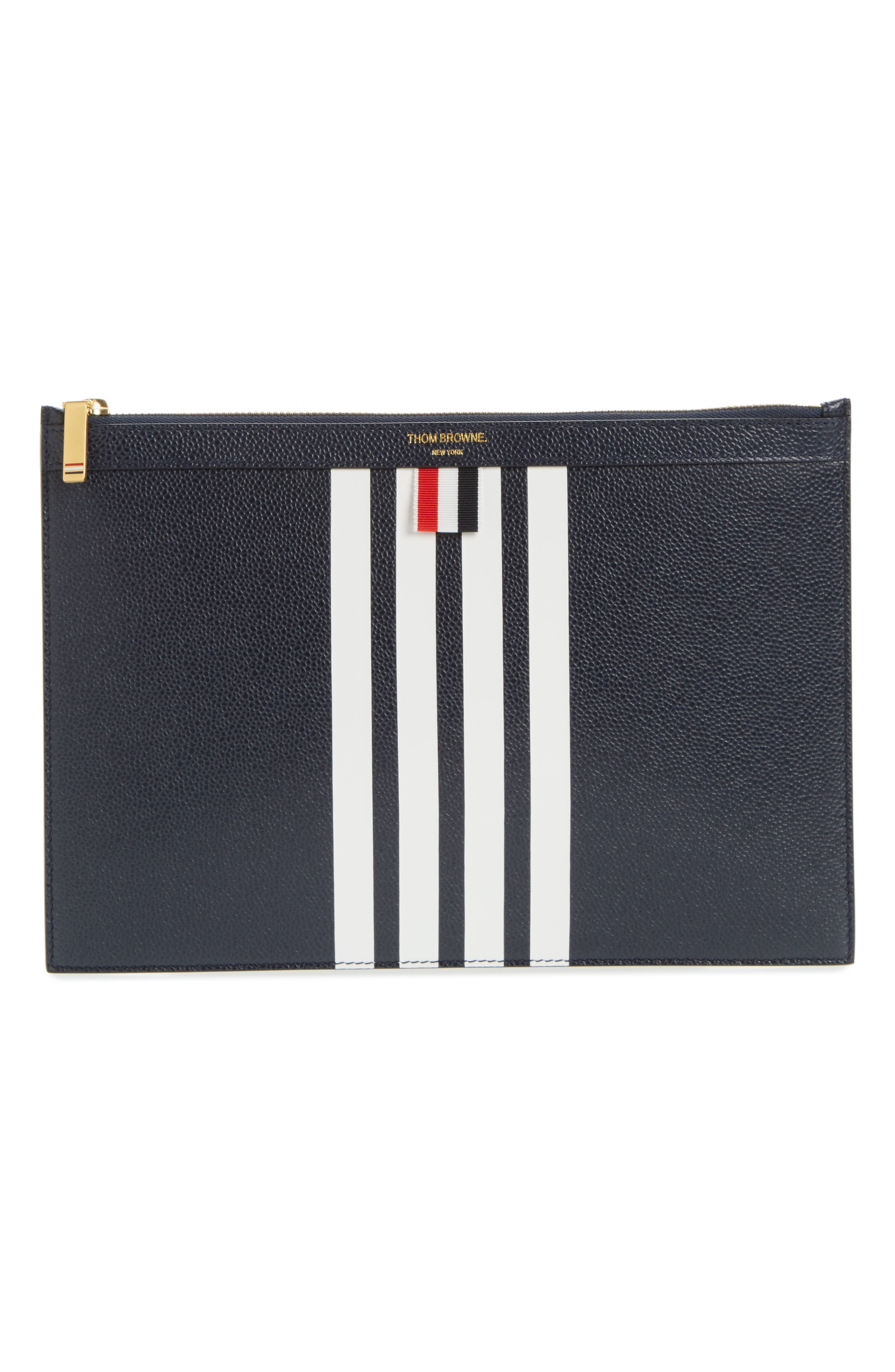 Stripe Leather Folio,                         Main,                         color, Navy