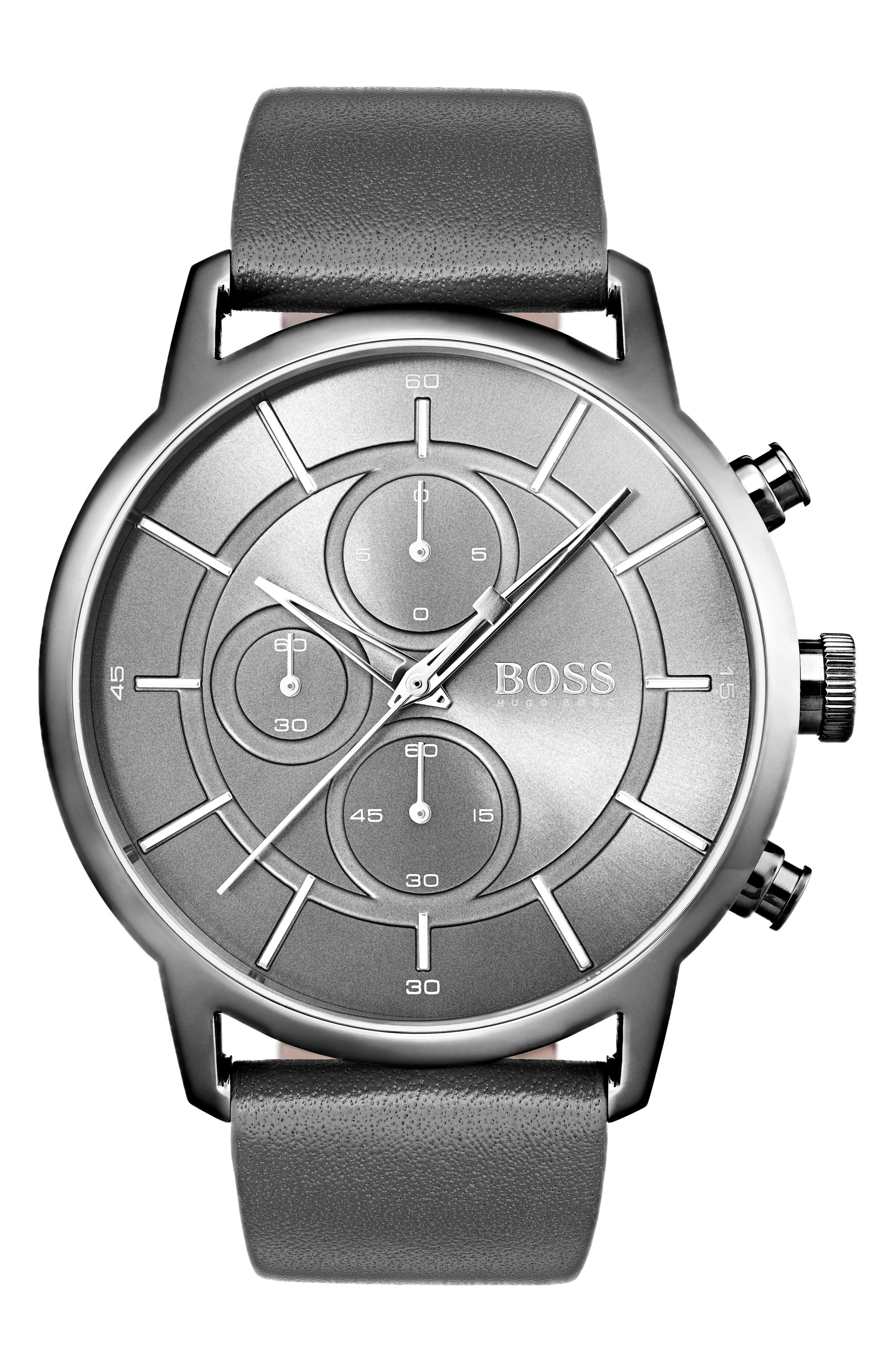 Architectural Chronograph Leather Strap Watch, 44mm,                             Main thumbnail 1, color,                             Gunmetal/ Grey