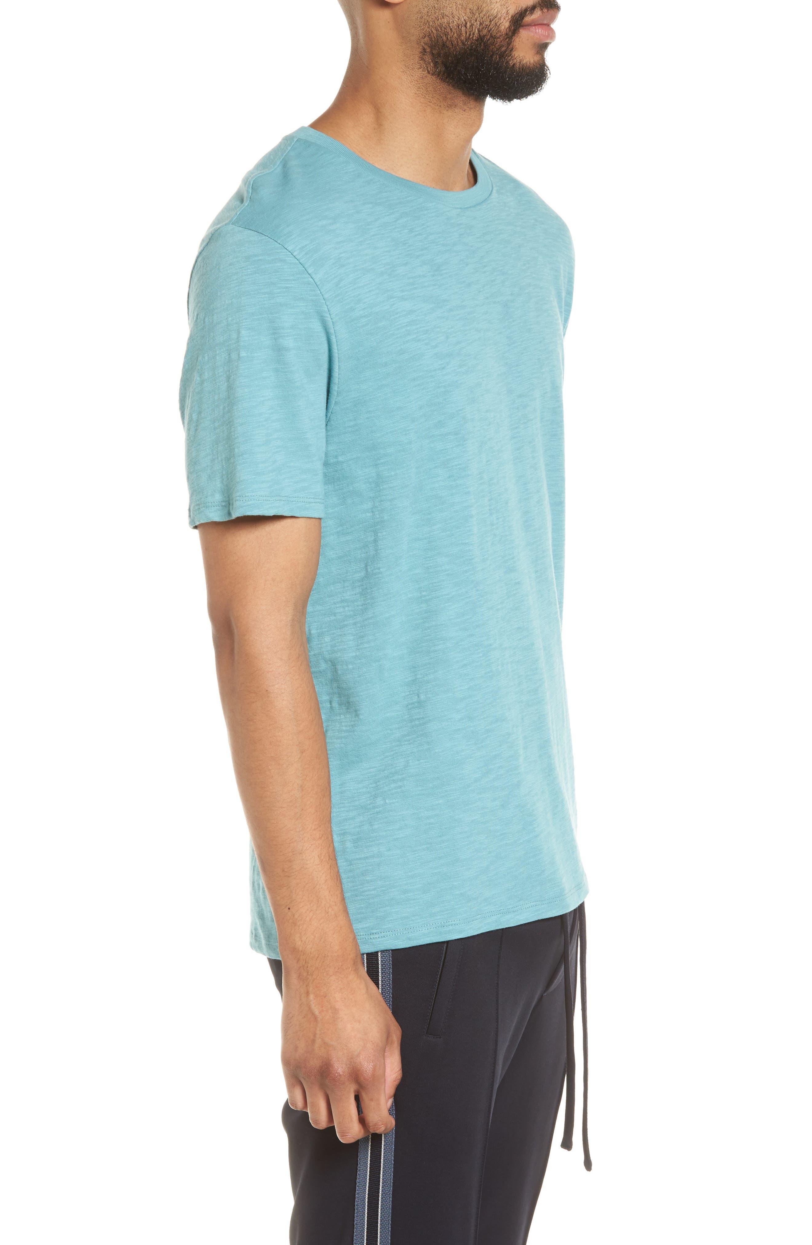 Slim Fit Slub Cotton T-Shirt,                             Alternate thumbnail 3, color,                             Harbor