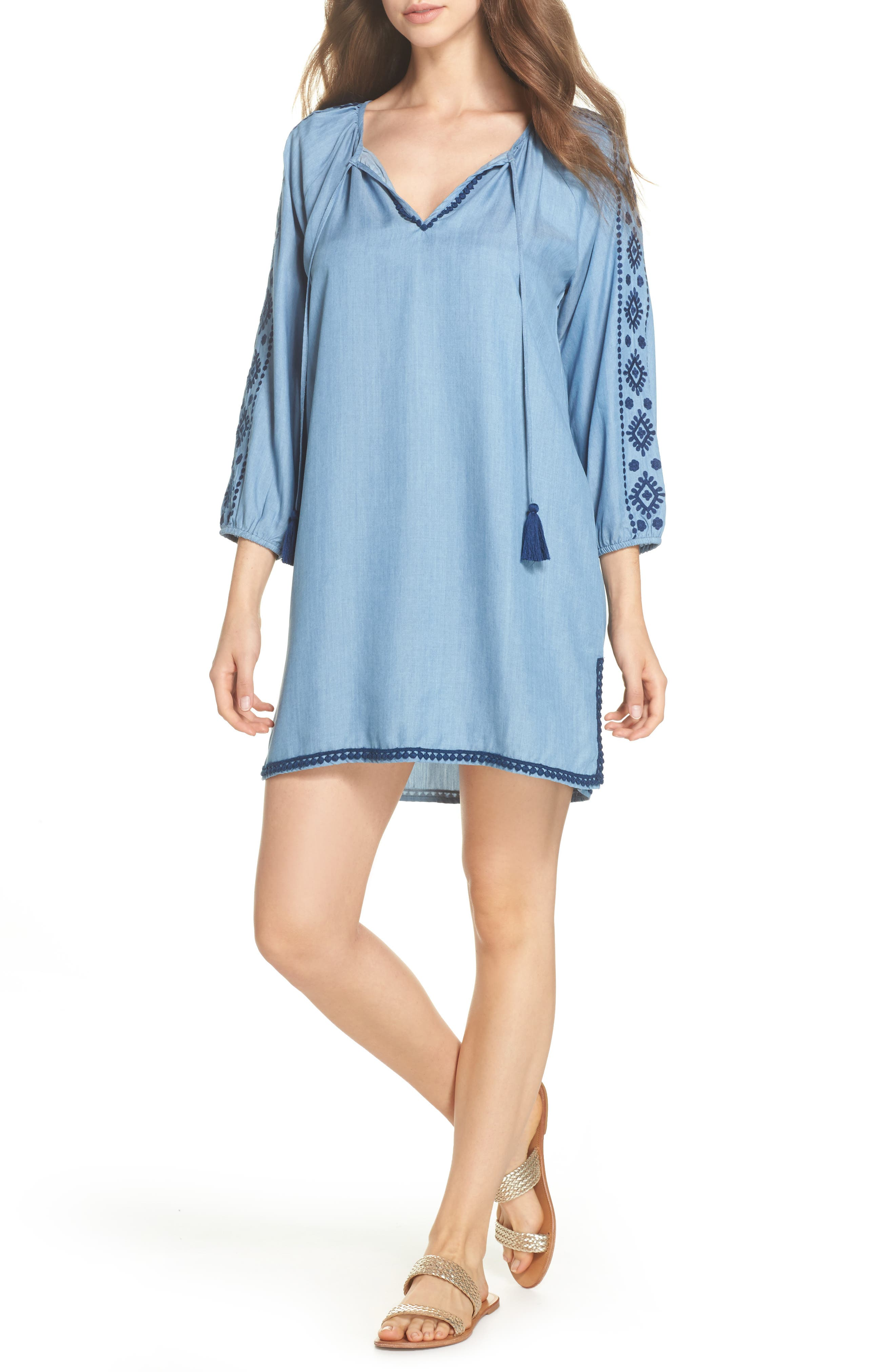 Embroidered Chambray Cover-Up Dress,                         Main,                         color, Chambray