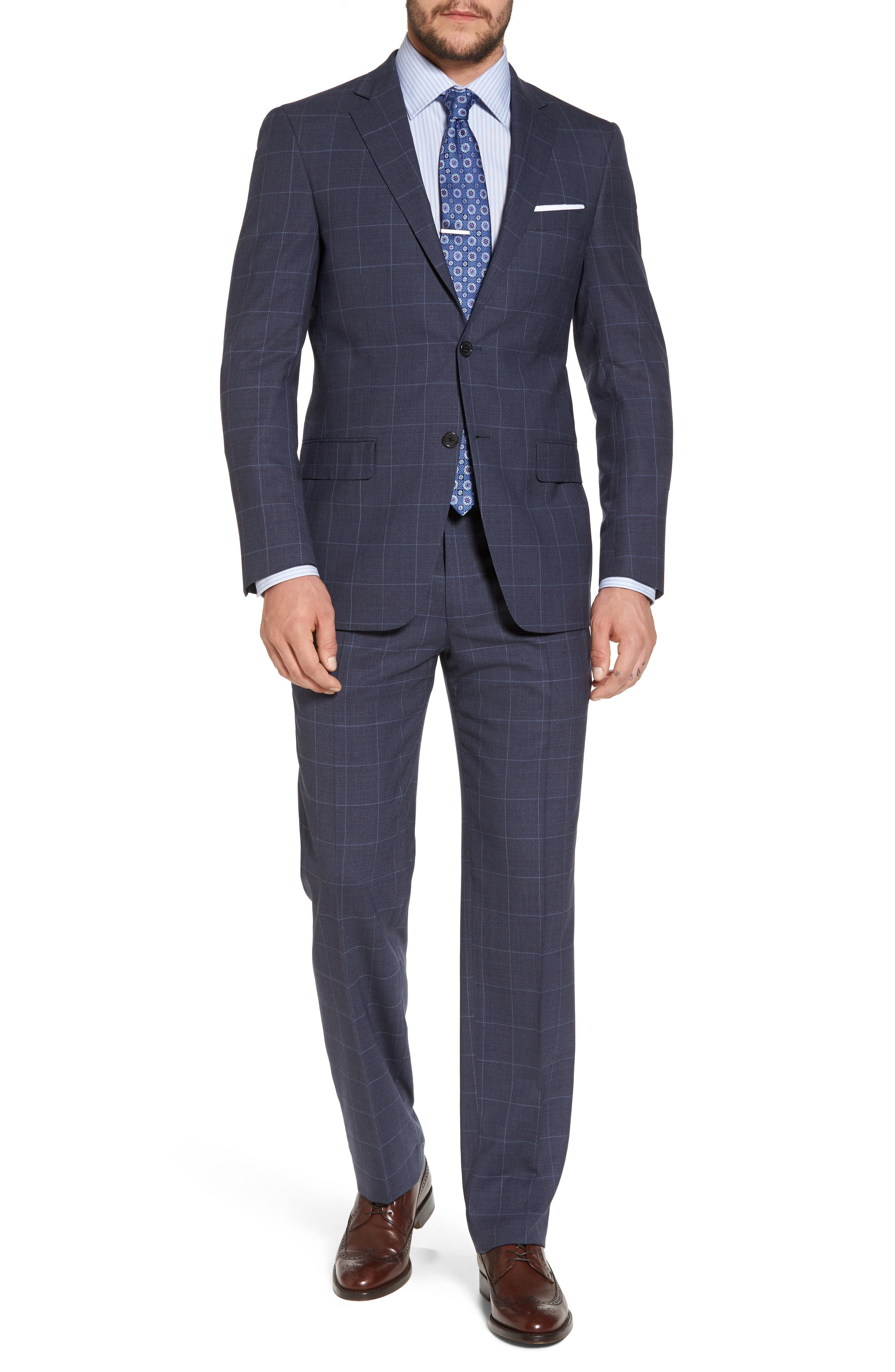 New York Classic Fit Windowpane Wool Suit,                         Main,                         color, Navy