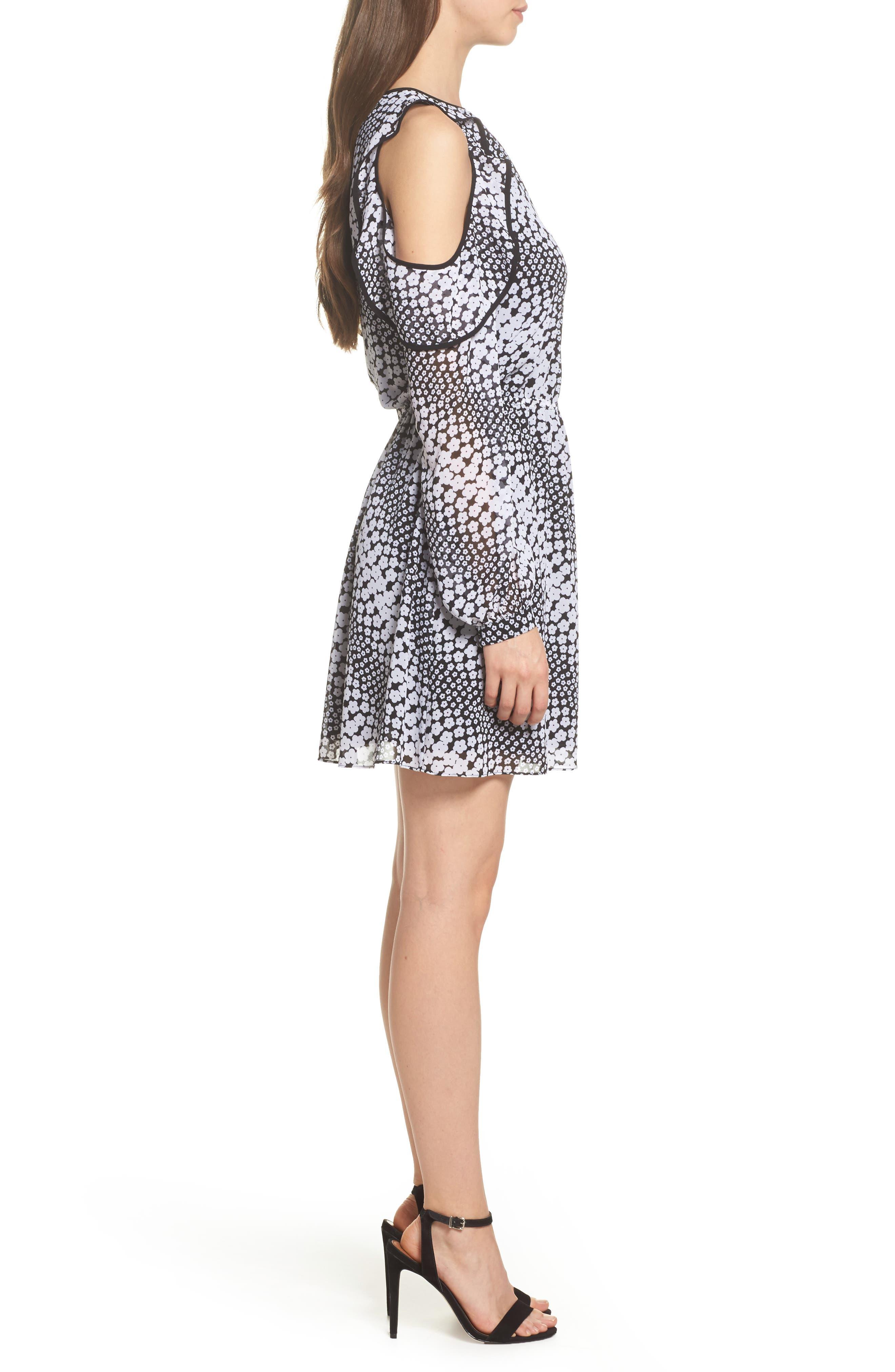 Cold Shoulder Blouson Dress,                             Alternate thumbnail 3, color,                             Black/ White