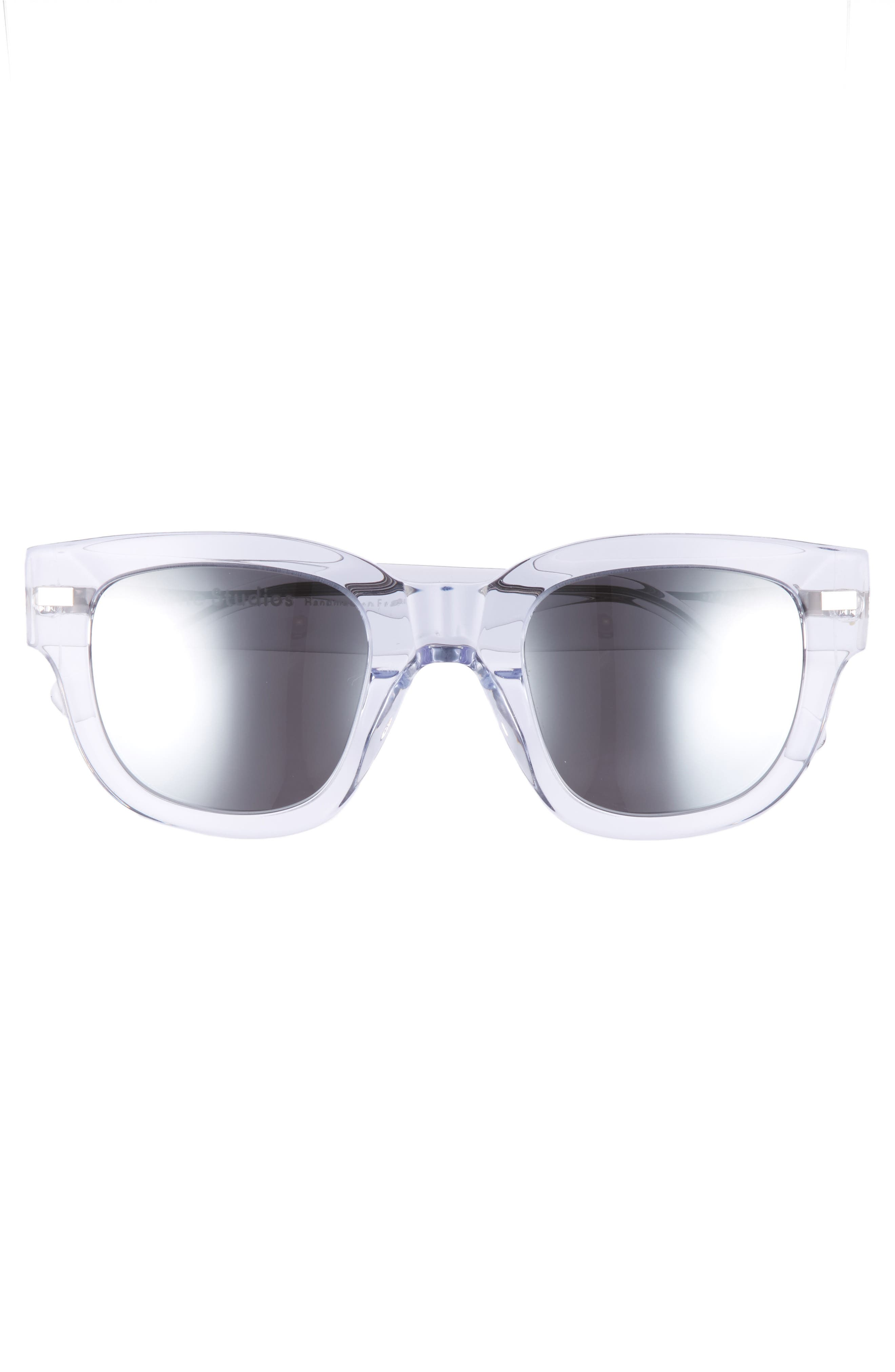 47mm Sunglasses,                             Alternate thumbnail 3, color,                             Clear/ Silver Mirror