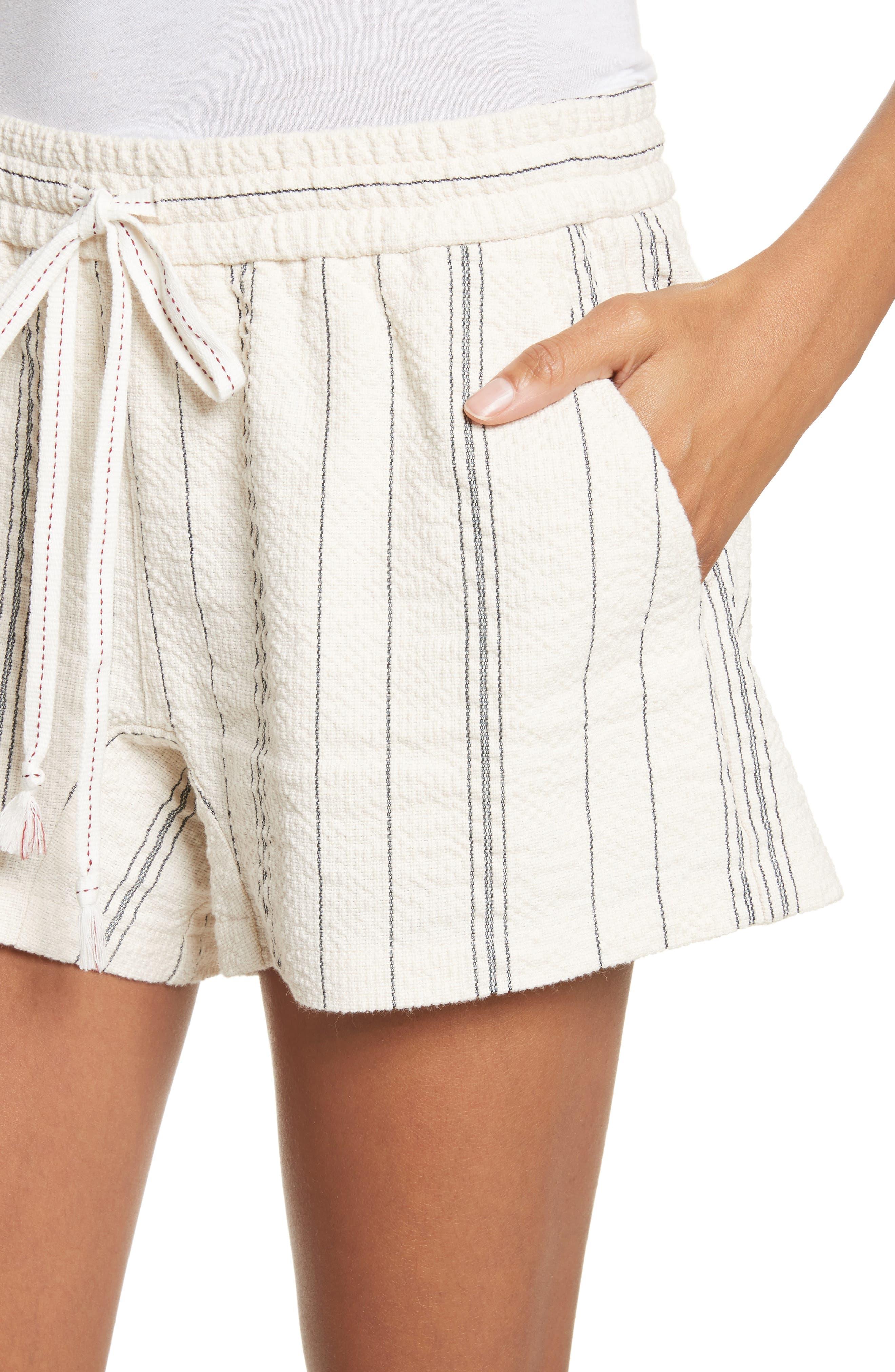Stripe Shorts,                             Alternate thumbnail 4, color,                             White/ Black