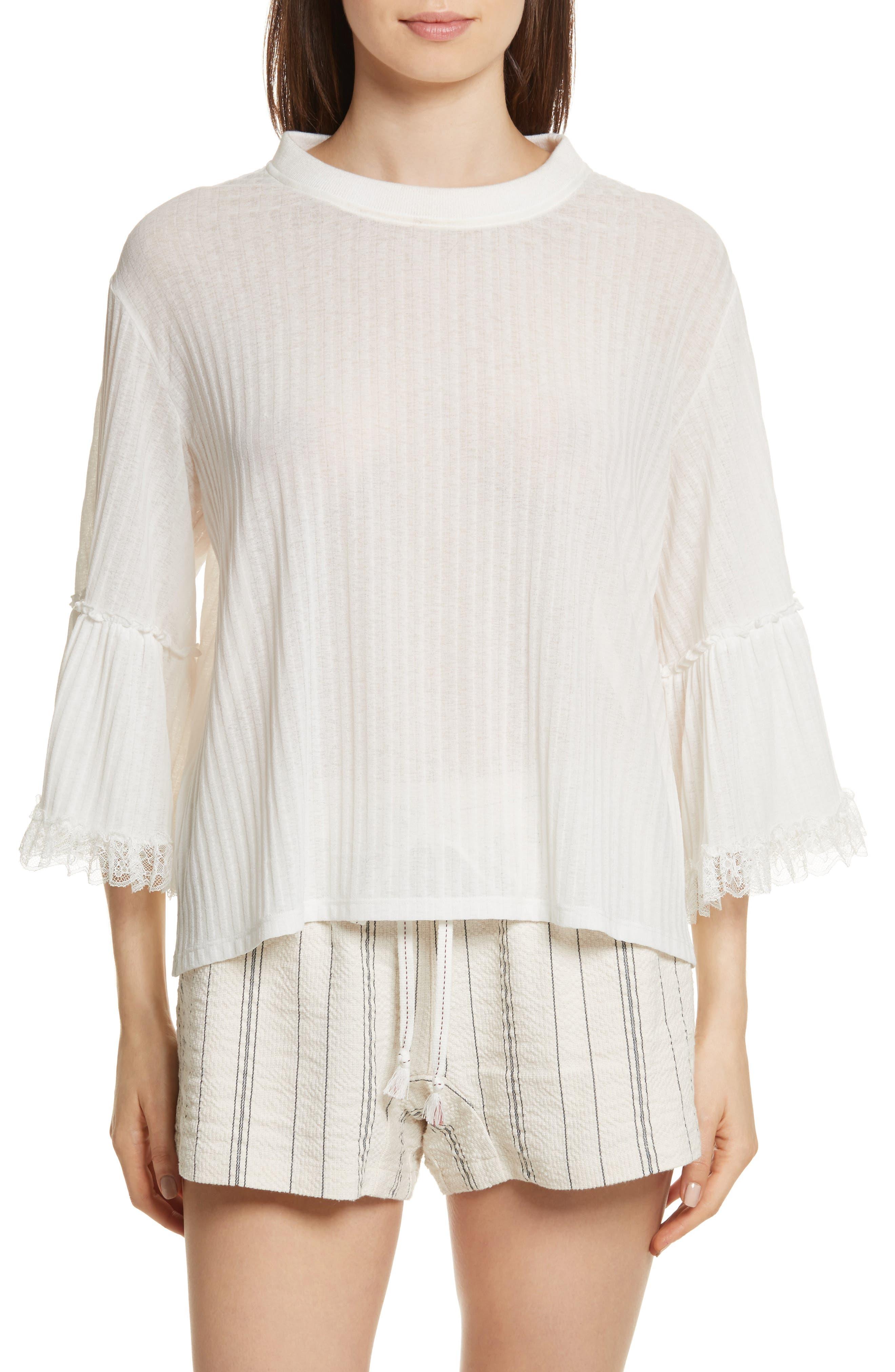 Lace Trim Top,                             Main thumbnail 1, color,                             White