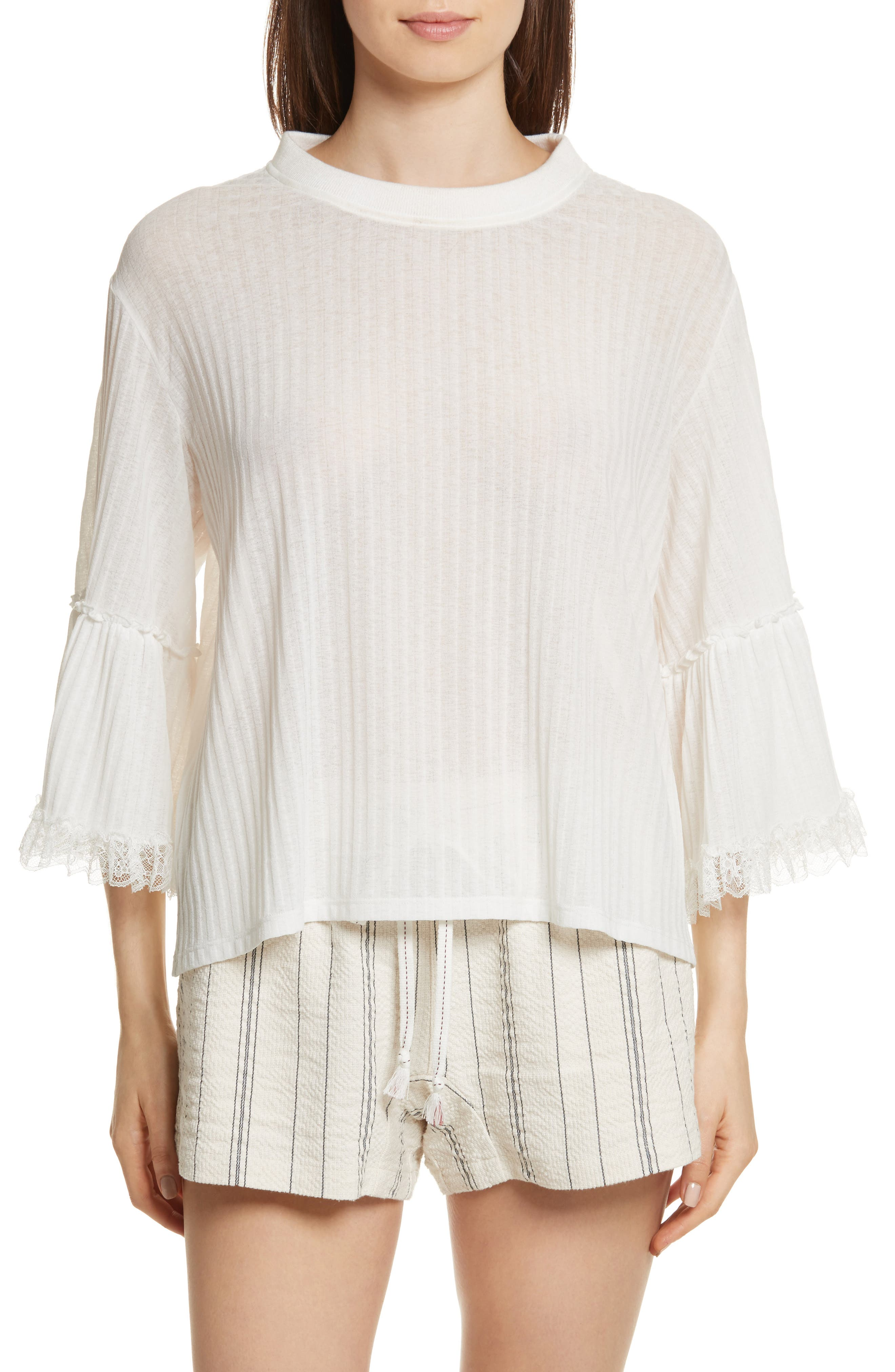 Lace Trim Top,                         Main,                         color, White