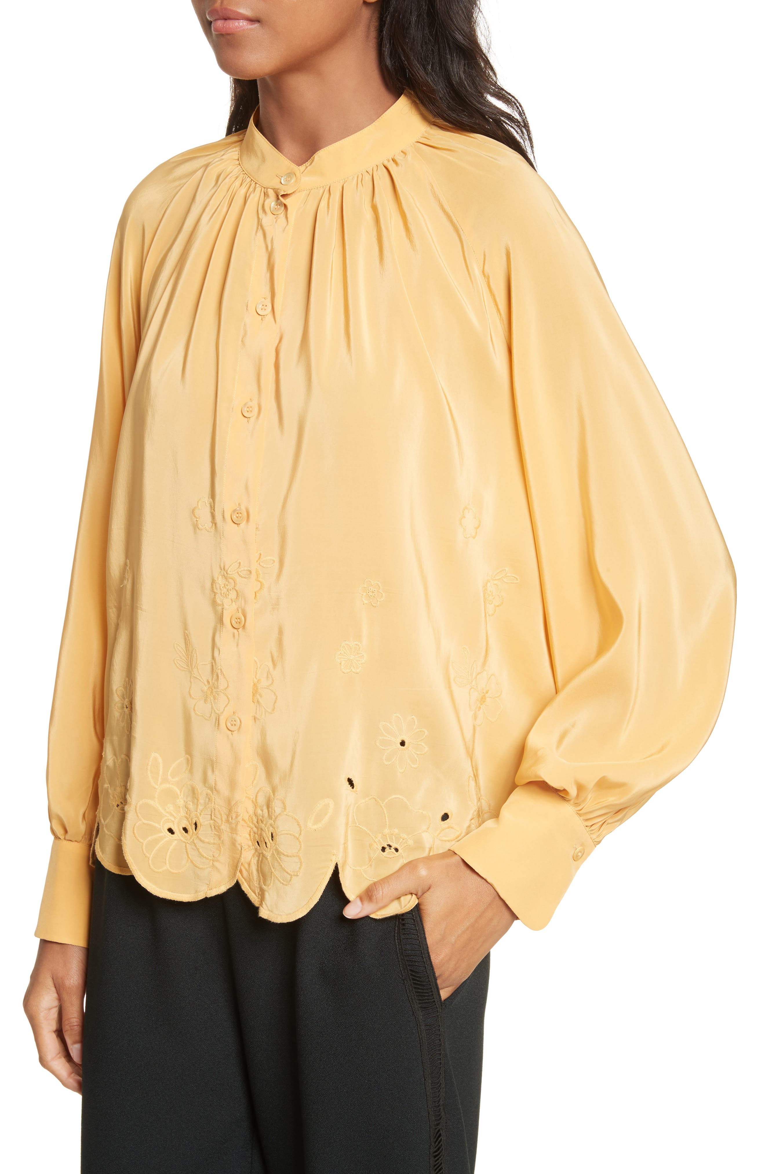 Embroidered Scallop Hem Shirt,                             Alternate thumbnail 4, color,                             Ochre