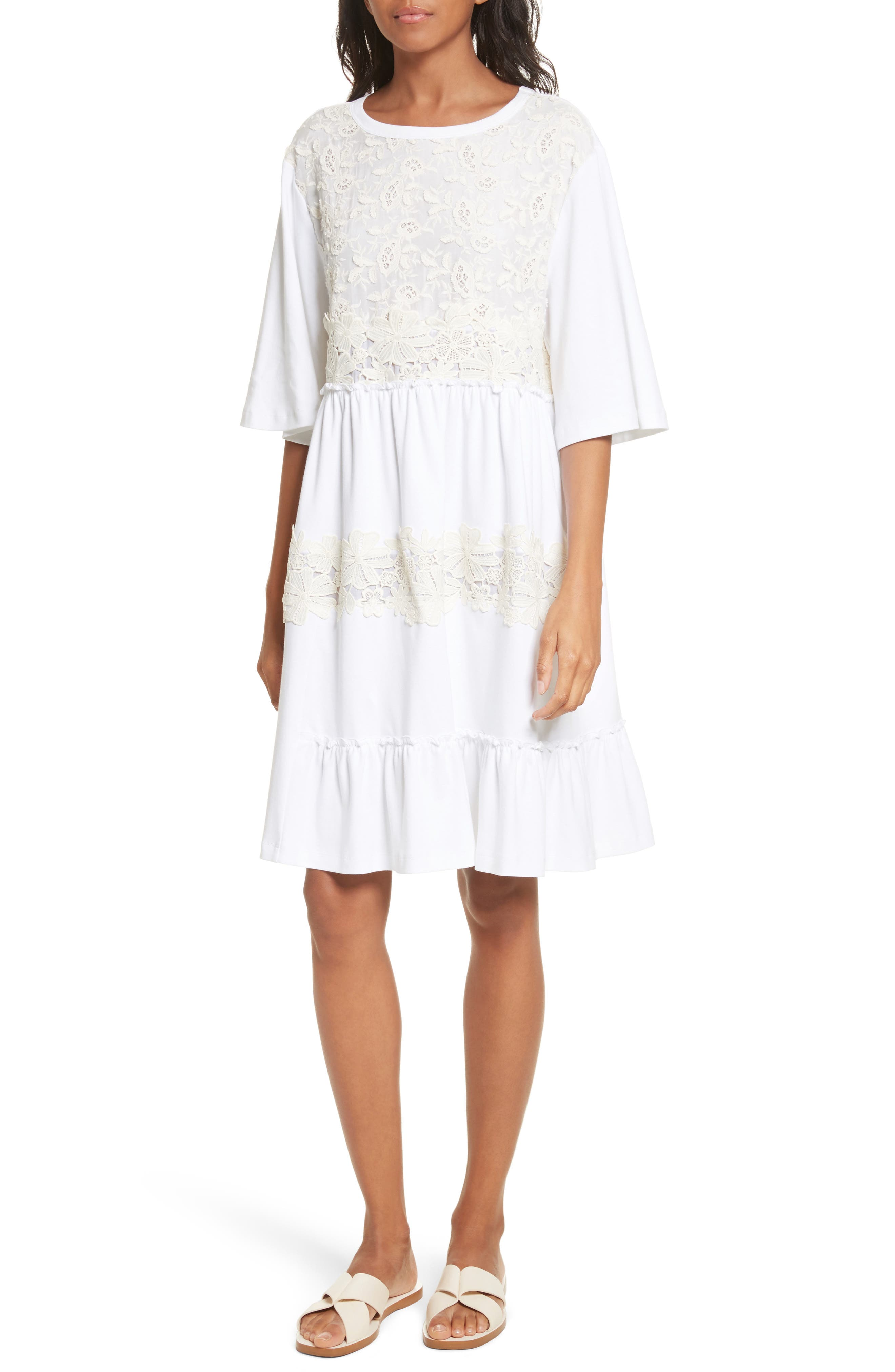Crochet Panel Dress,                         Main,                         color, White