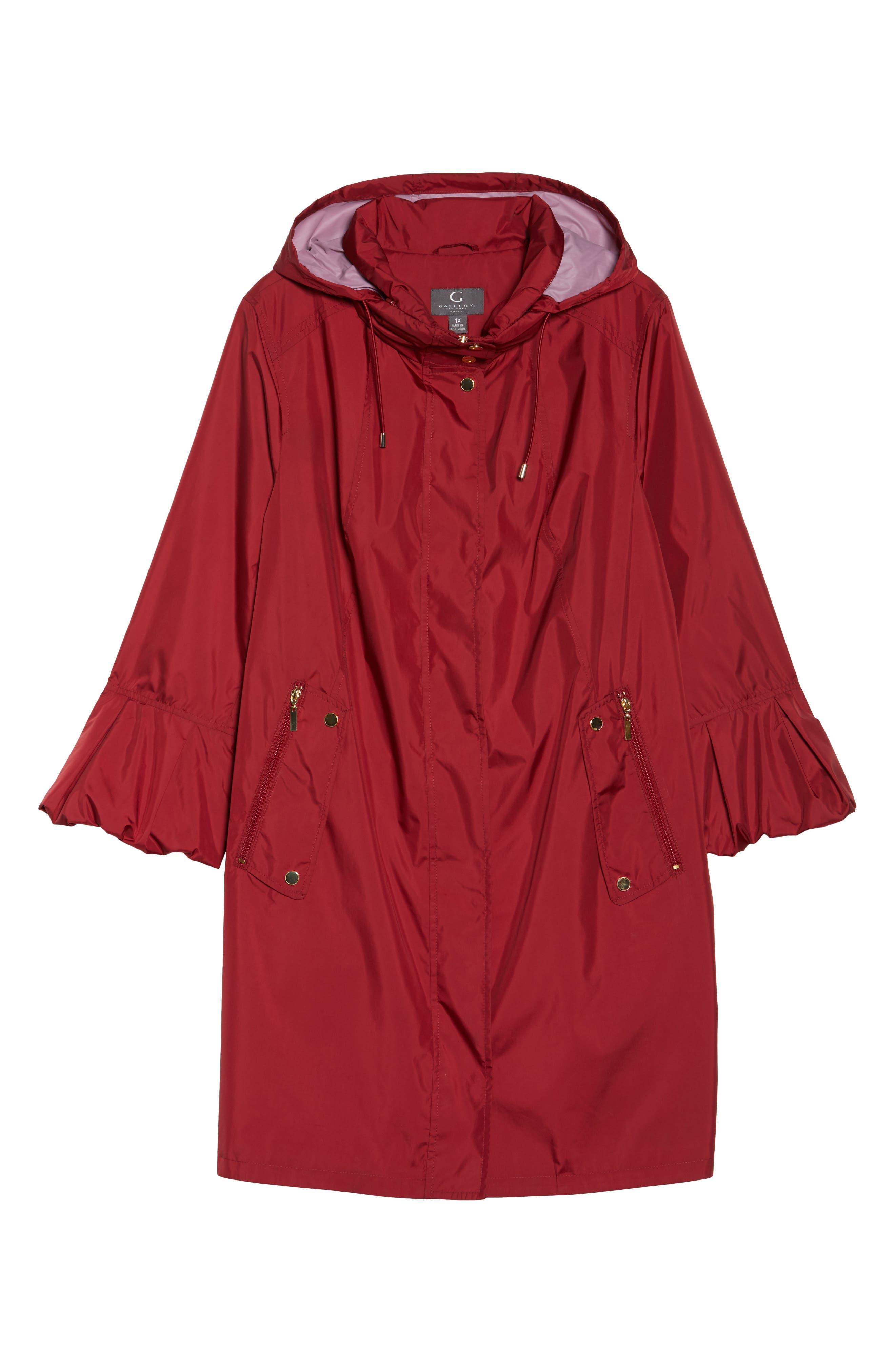 Flare Sleeve Packable Swing Jacket,                             Alternate thumbnail 7, color,                             Garnet