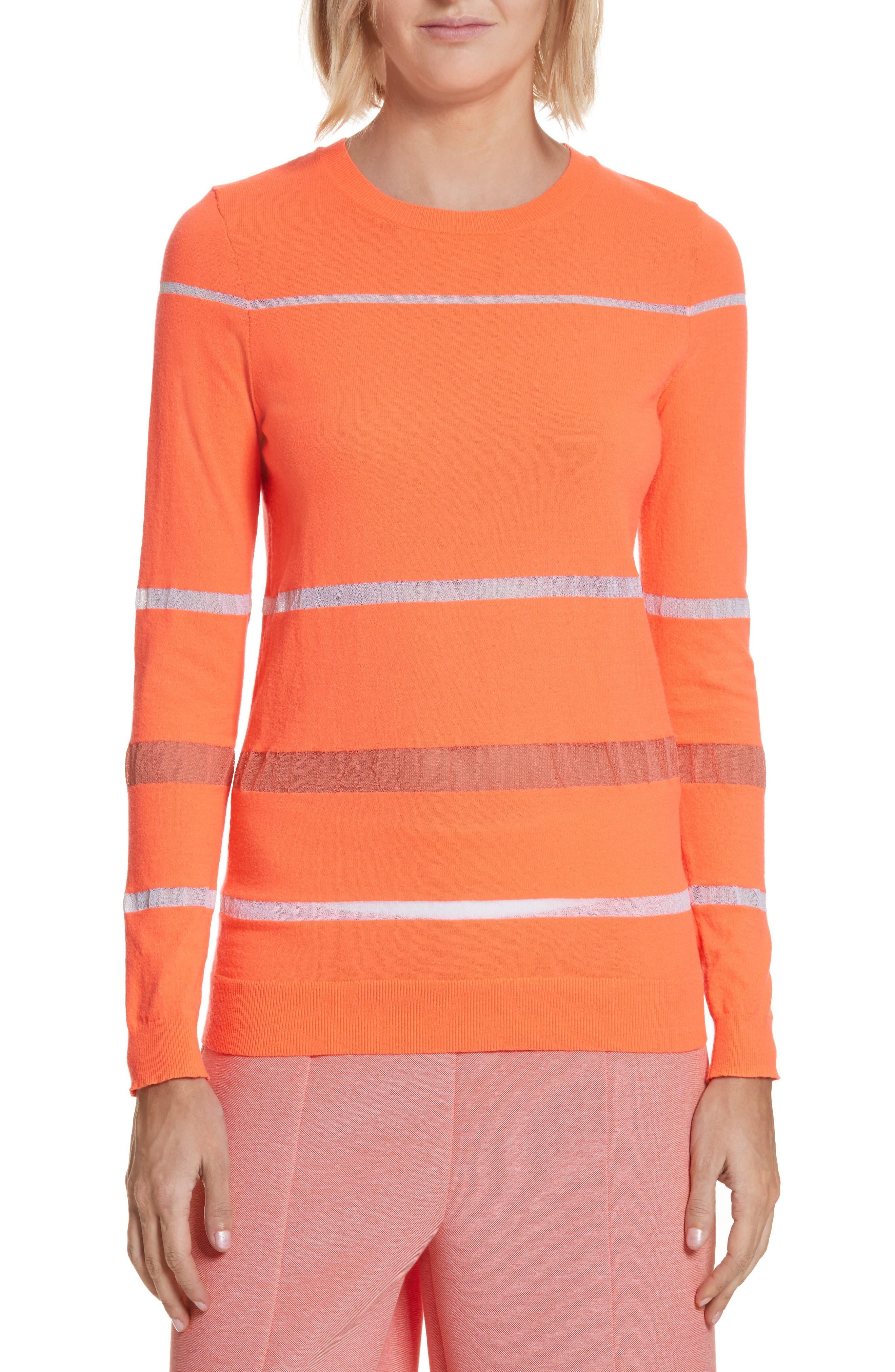 Illusion Stripe Crewneck Sweater,                         Main,                         color, Neon Pink