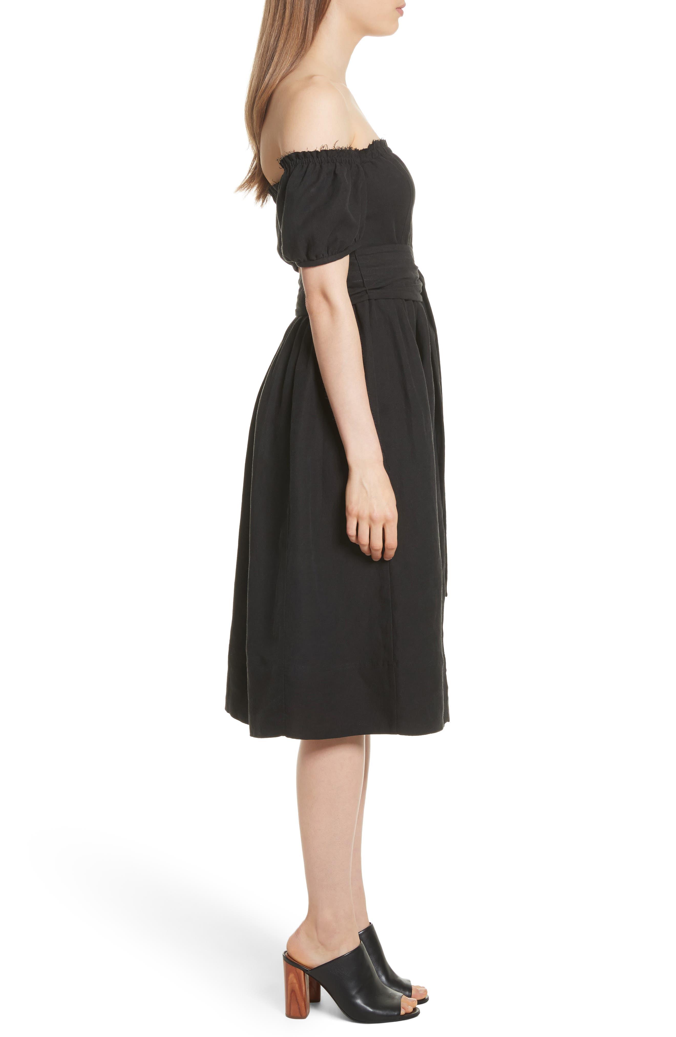 Lalla Off the Shoulder Linen Blend Dress,                             Alternate thumbnail 3, color,                             Black