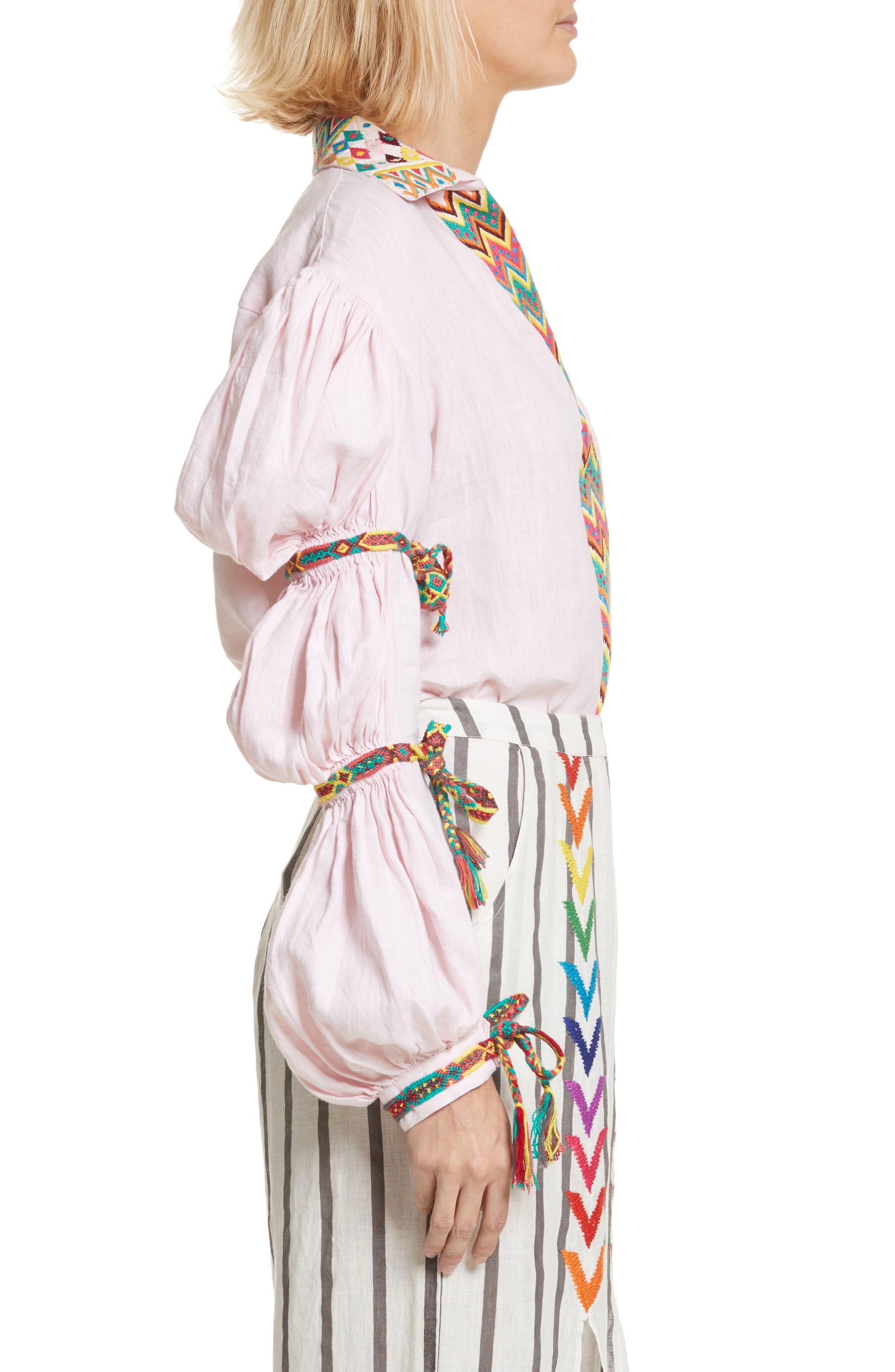 Lillian Bubble Sleeve Linen Shirt,                             Alternate thumbnail 3, color,                             Baby Pink