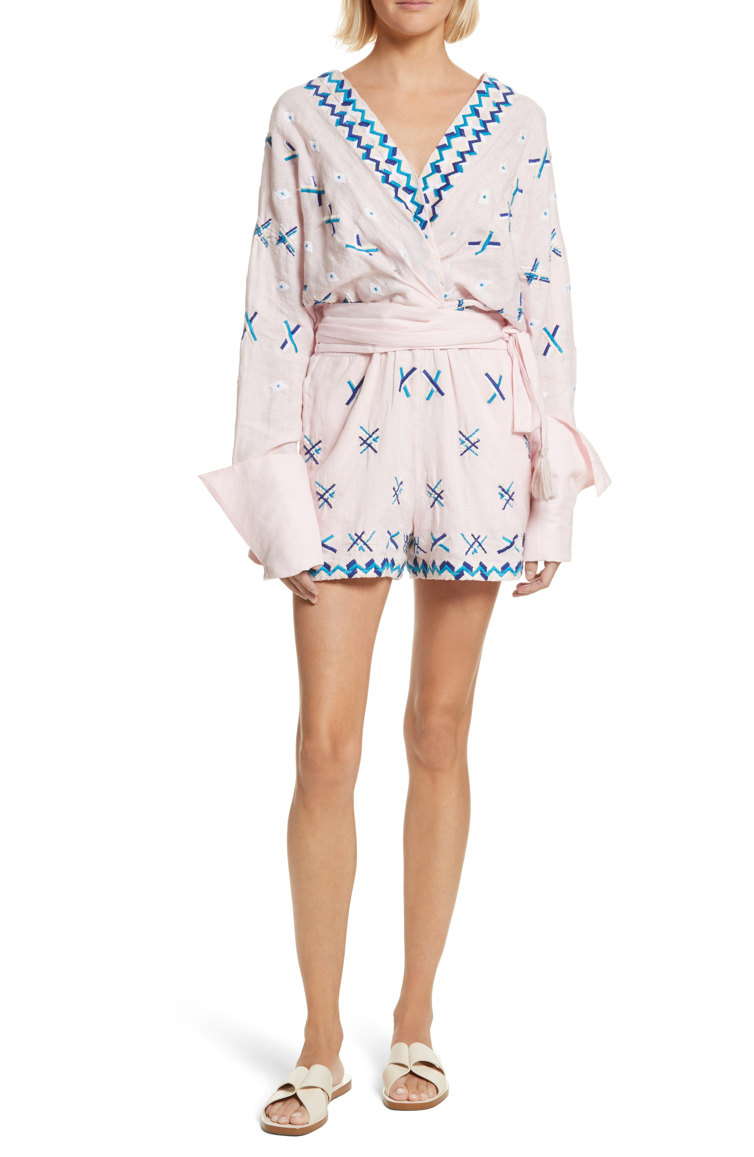 Magda Embroidered Romper,                         Main,                         color, Baby Pink