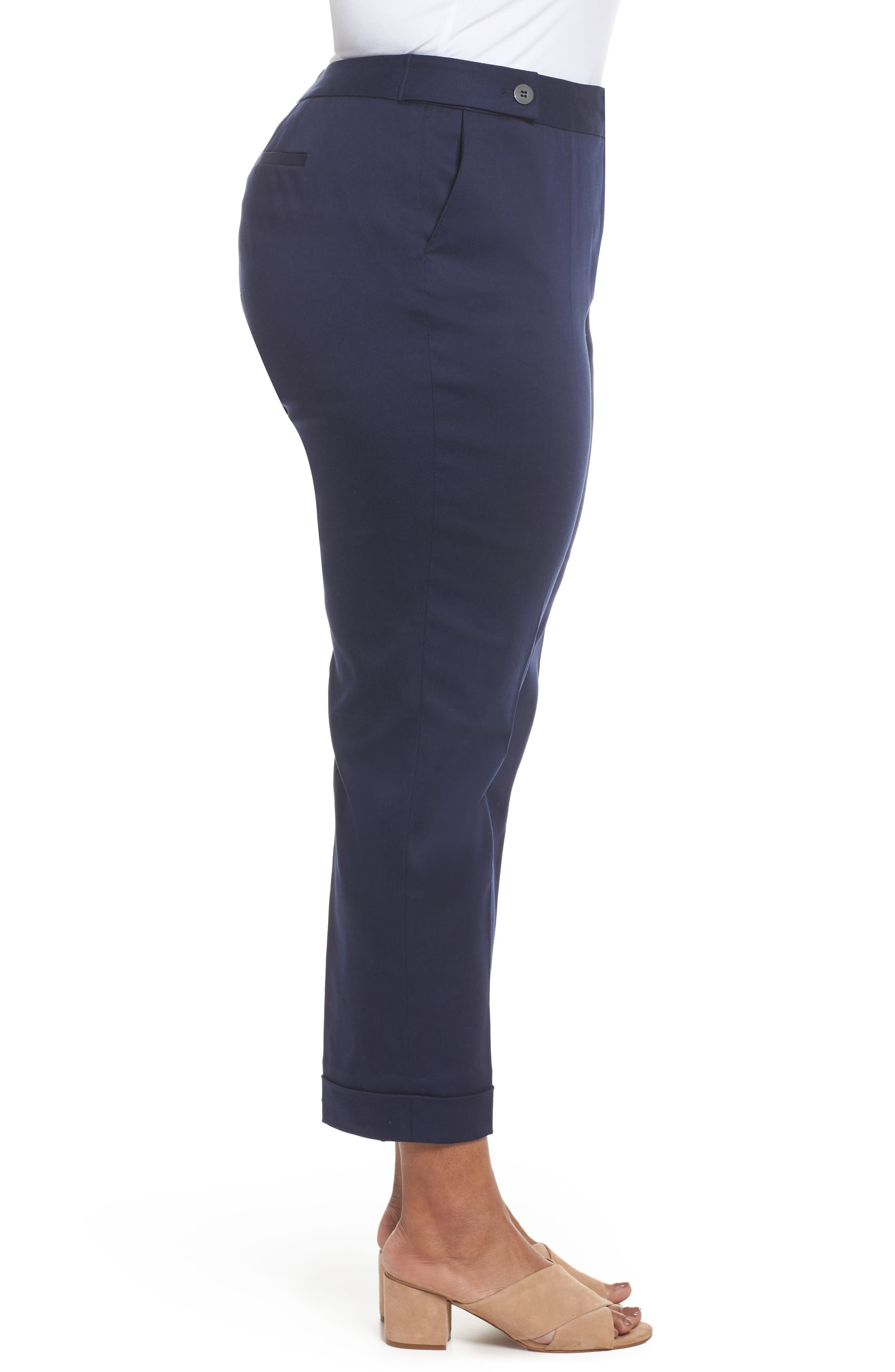 Stretch Twill Ankle Pants,                             Alternate thumbnail 3, color,                             Navy Peacoat