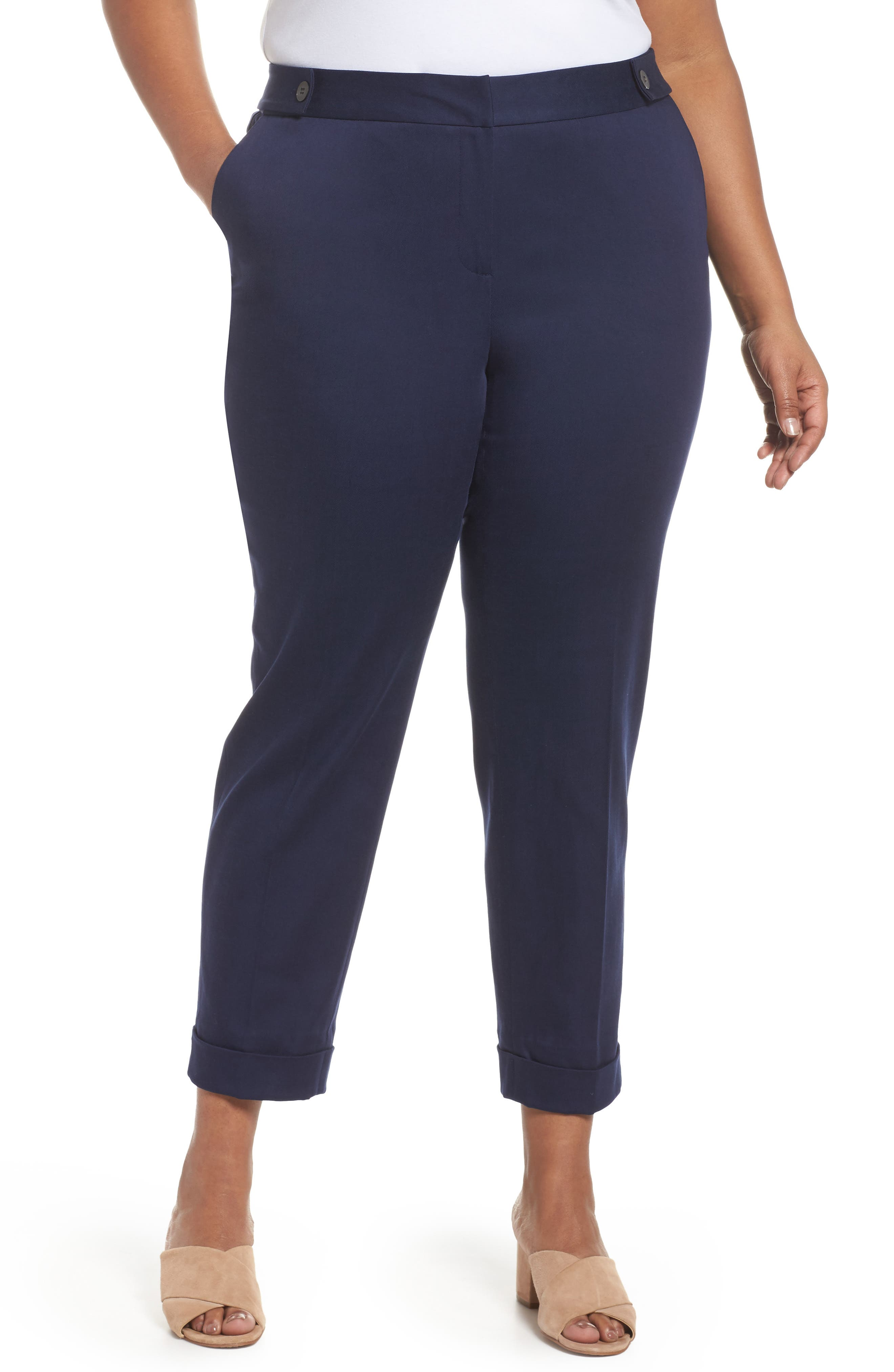 Stretch Twill Ankle Pants,                             Main thumbnail 1, color,                             Navy Peacoat