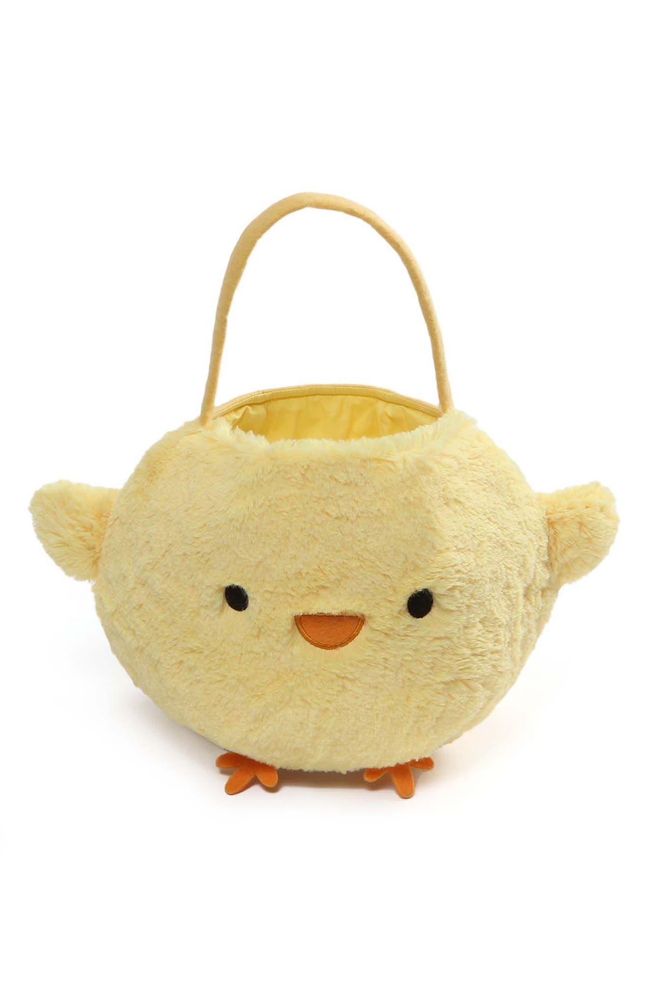 Baby Chick Plush Easter Basket,                             Main thumbnail 1, color,                             Yellow