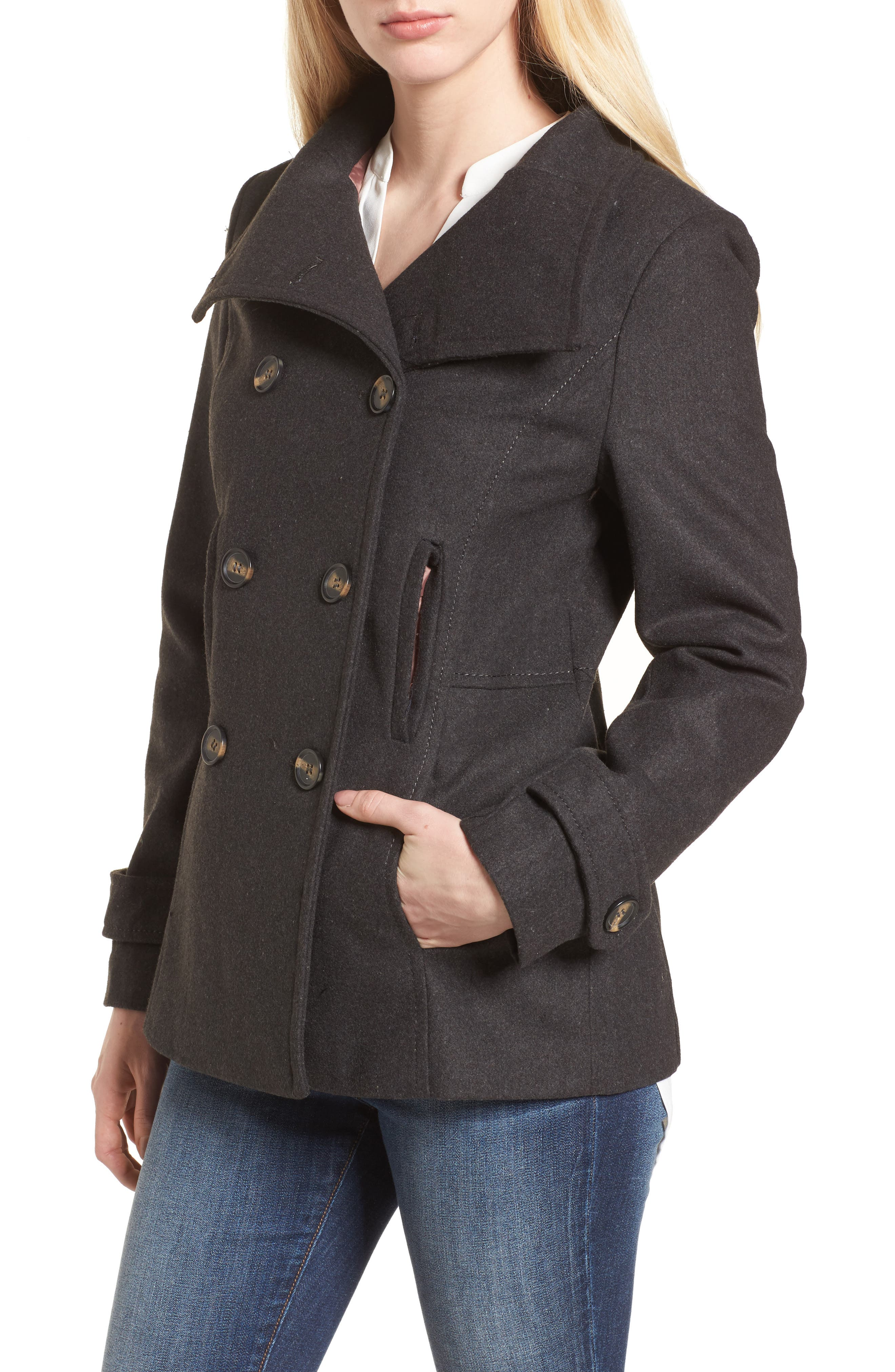 Double Breasted Peacoat,                             Alternate thumbnail 4, color,                             Charcoal