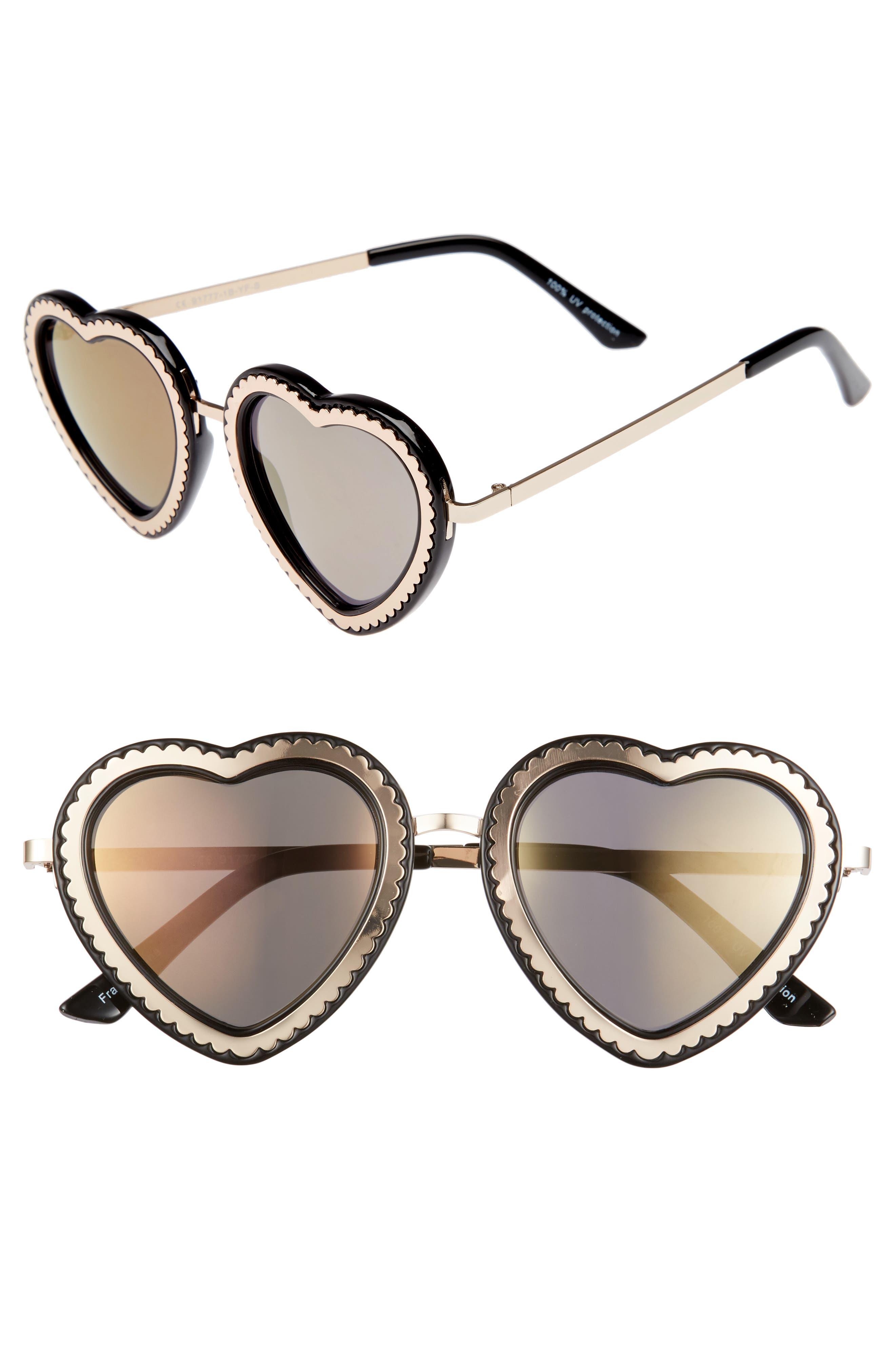 61mm Mirrored Heart Sunglasses,                             Main thumbnail 1, color,                             Gold/ Black
