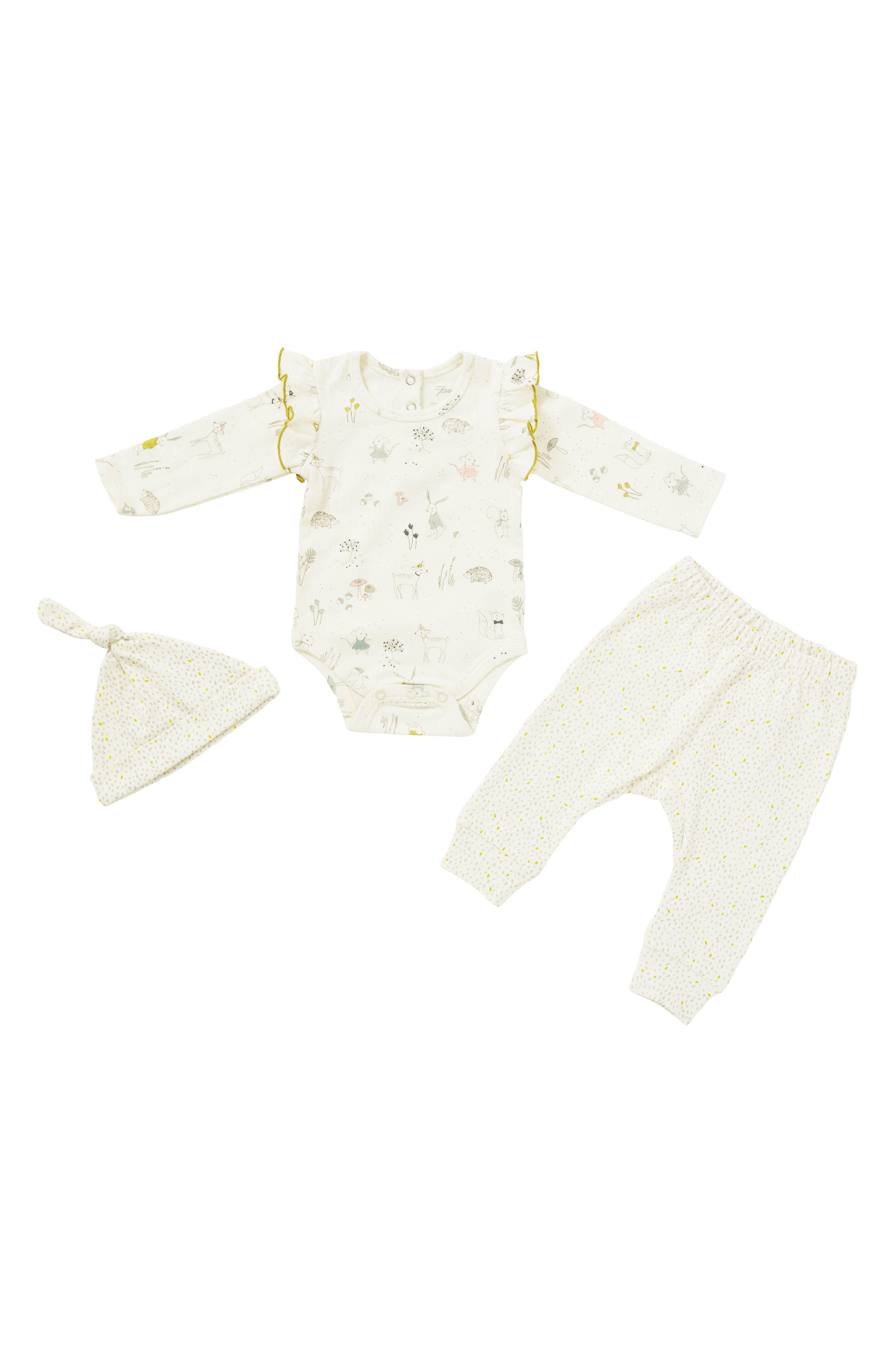 Magical Forest Bodysuit, Pants & Hat Set,                             Main thumbnail 1, color,                             Ivory