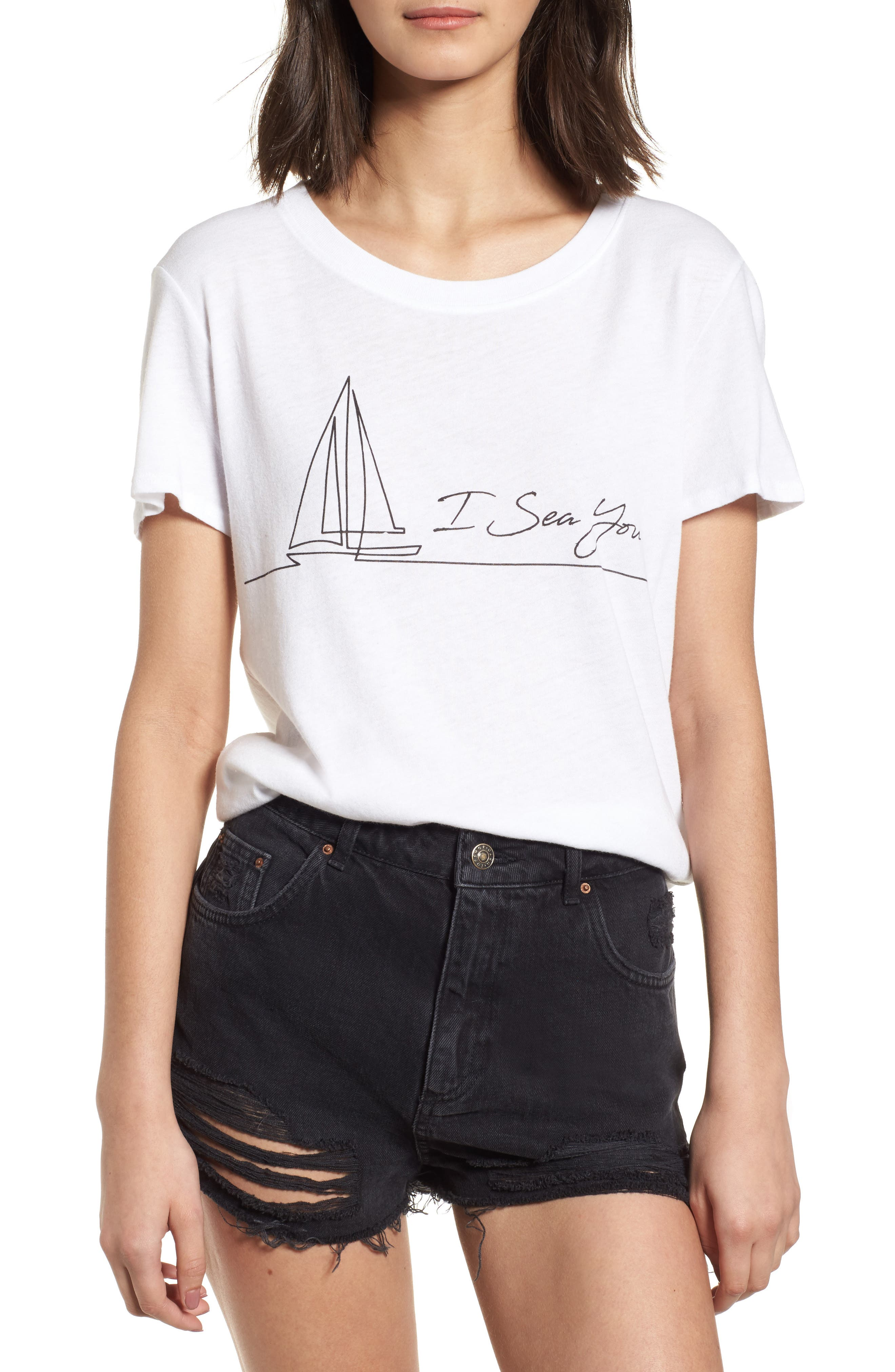 I Sea You Slouched Graphic Tee,                             Main thumbnail 1, color,                             White