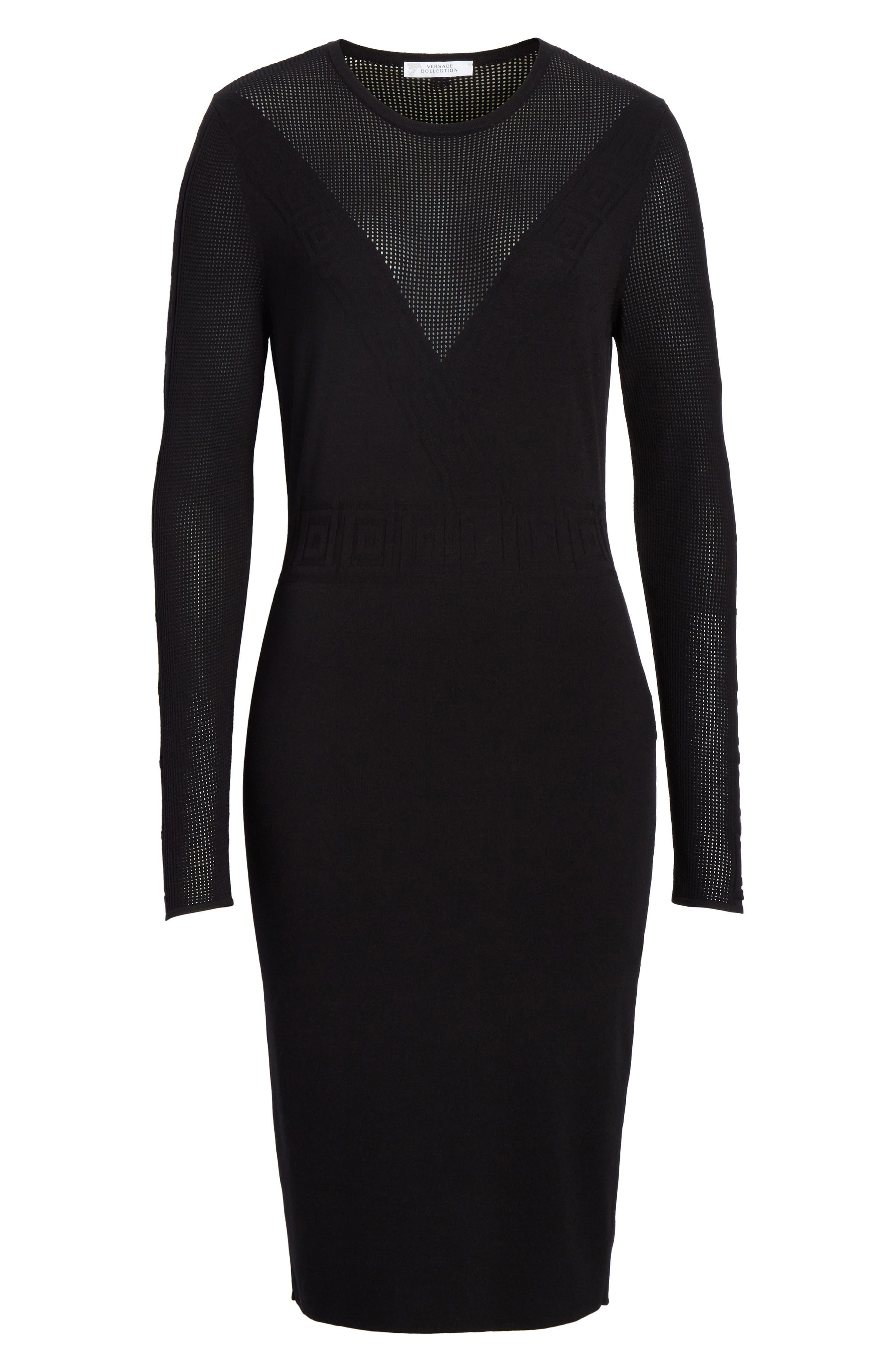 Sheer Detail Knit Dress,                             Alternate thumbnail 7, color,                             Black
