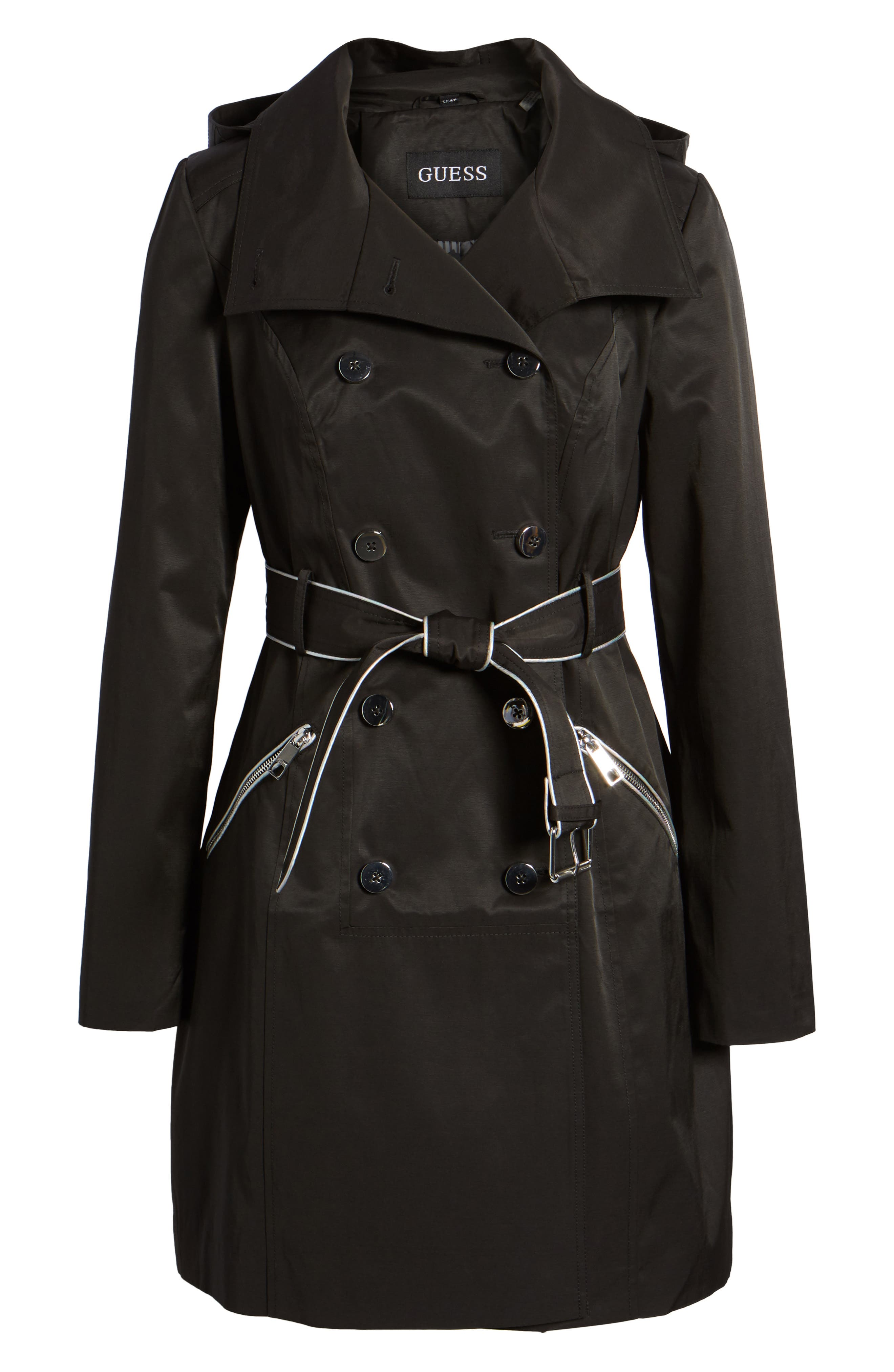 Hooded Piped Trench Coat,                             Alternate thumbnail 7, color,                             Black