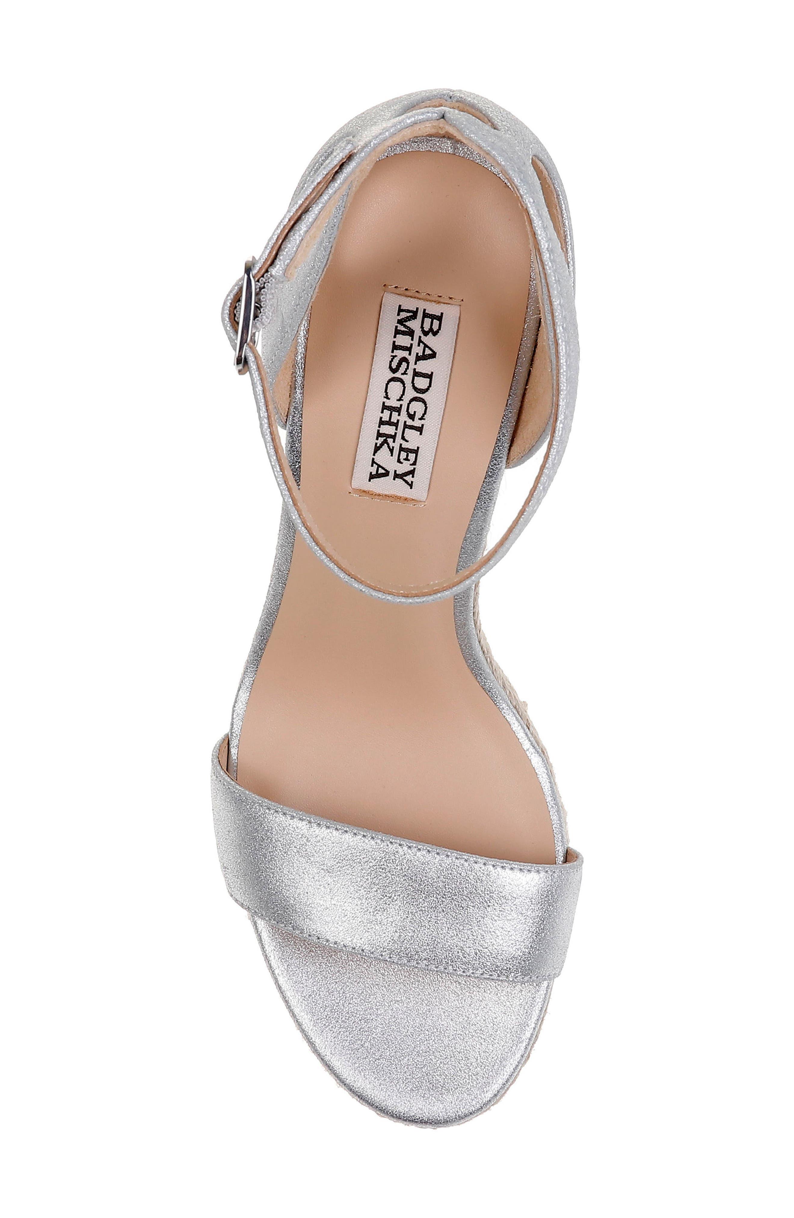Honest Espadrille Wedge Sandal,                             Alternate thumbnail 5, color,                             Silver Metallic Suede