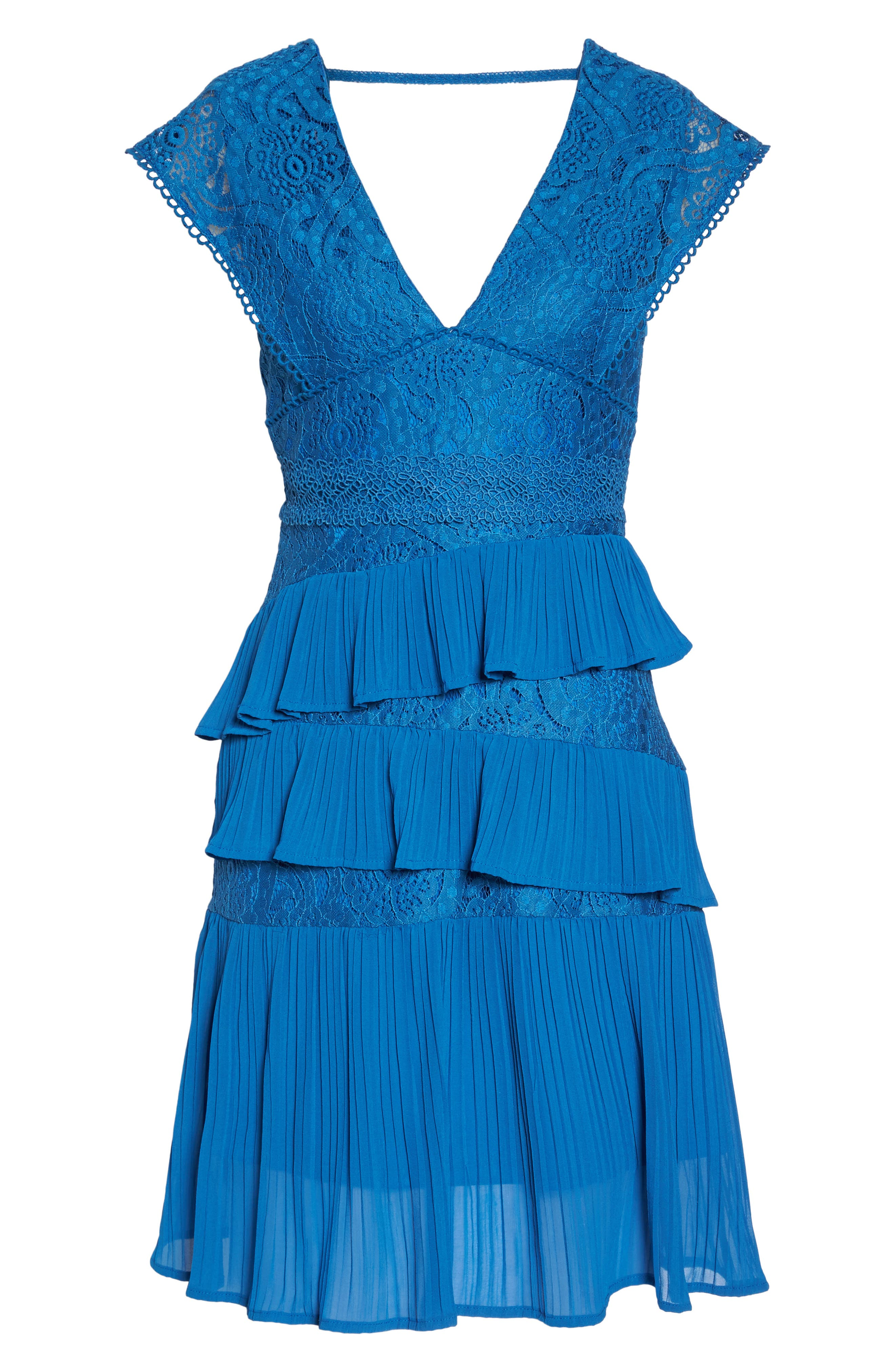 Clover Lace Tiered Dress,                             Alternate thumbnail 6, color,                             Navy