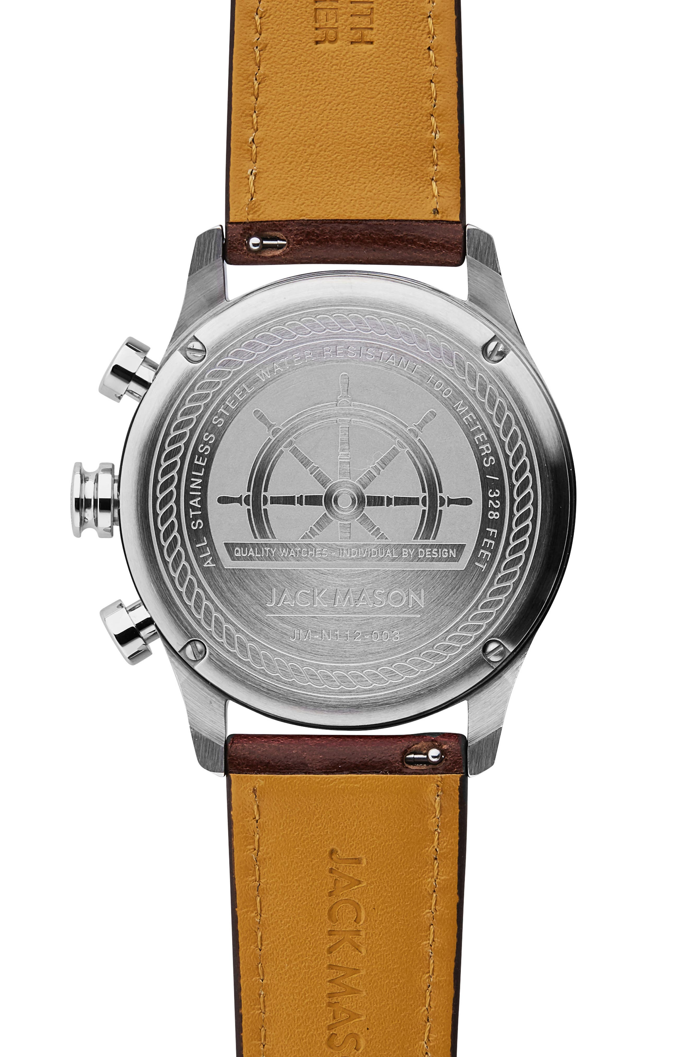 Nautical Chronograph Leather Strap Watch, 42mm,                             Alternate thumbnail 2, color,                             Grey/ Dark Brown