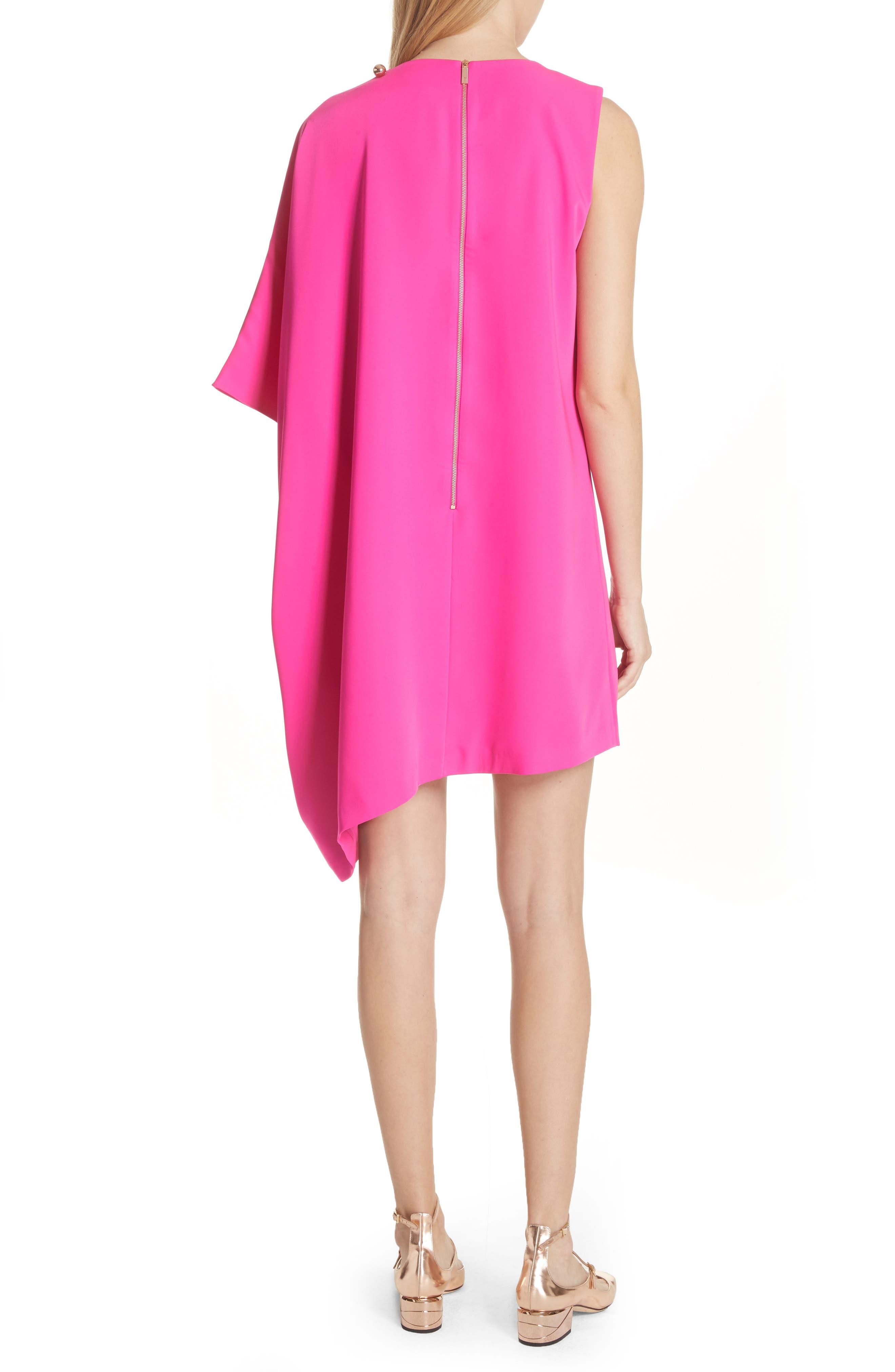 Oversize Drape Front Dress,                             Alternate thumbnail 2, color,                             Fuchsia