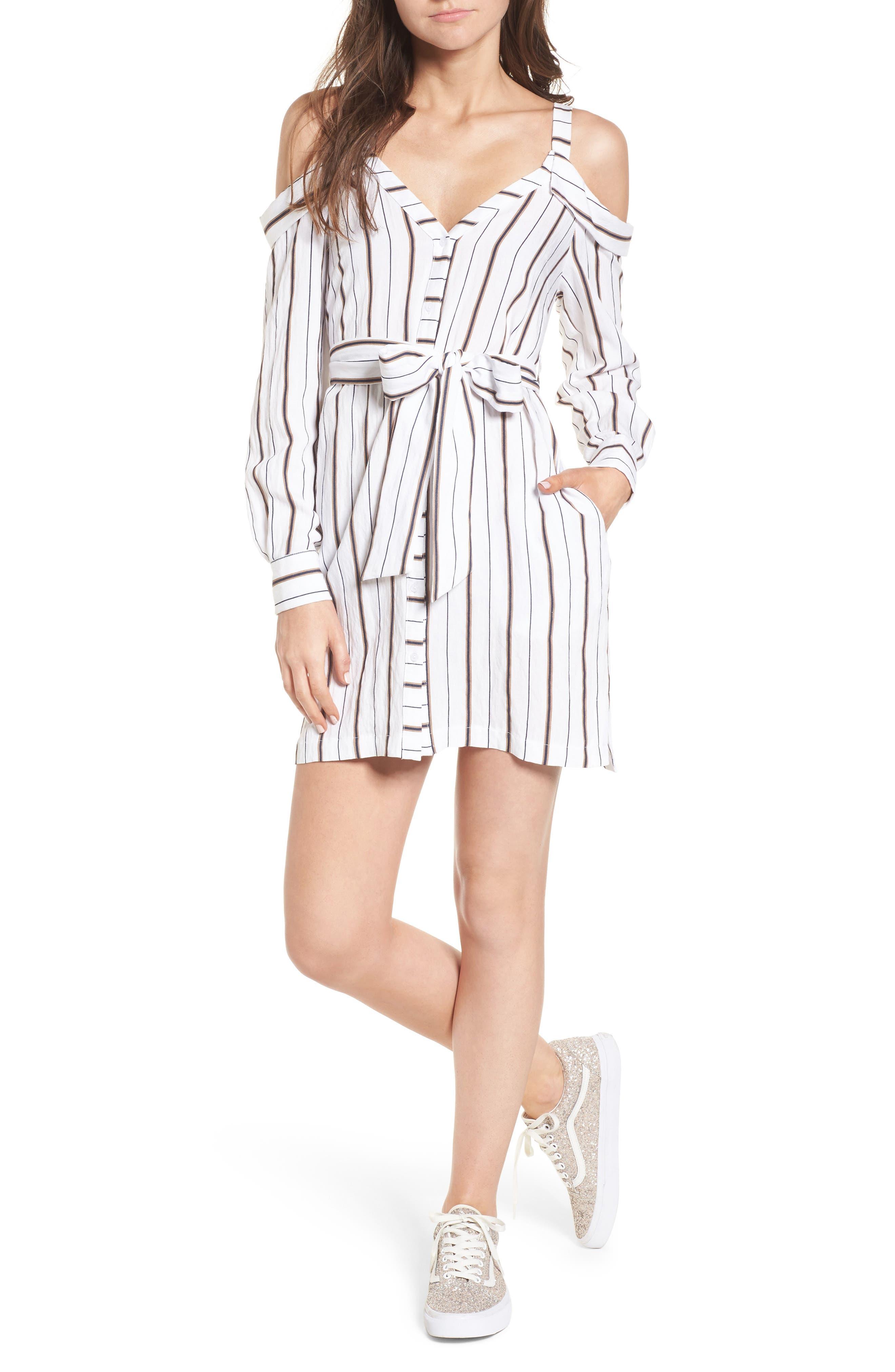 Cold Shoulder Stripe Shirtdress