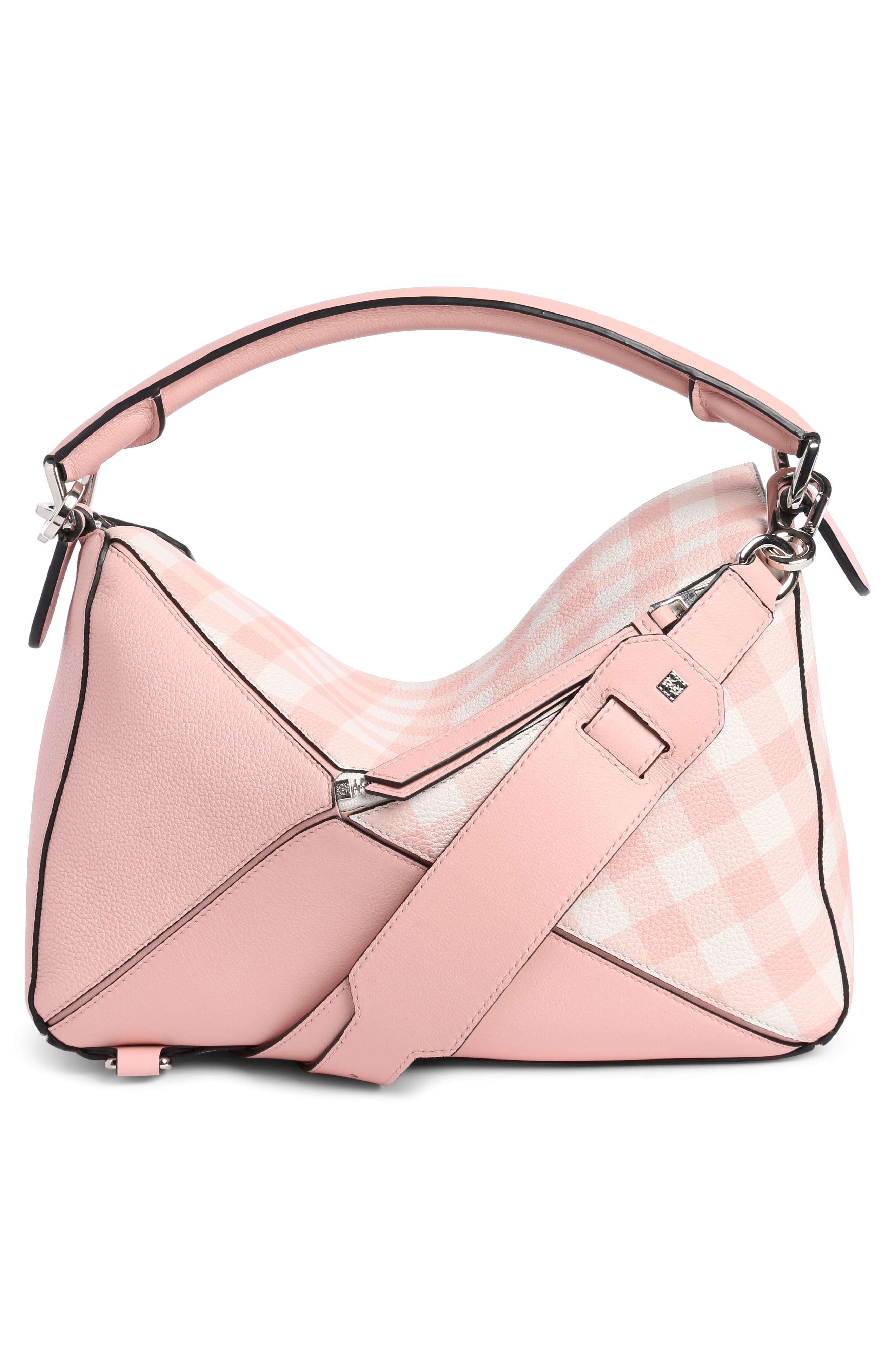 Puzzle Gingham Calfskin Leather Bag,                             Alternate thumbnail 2, color,                             Salmon