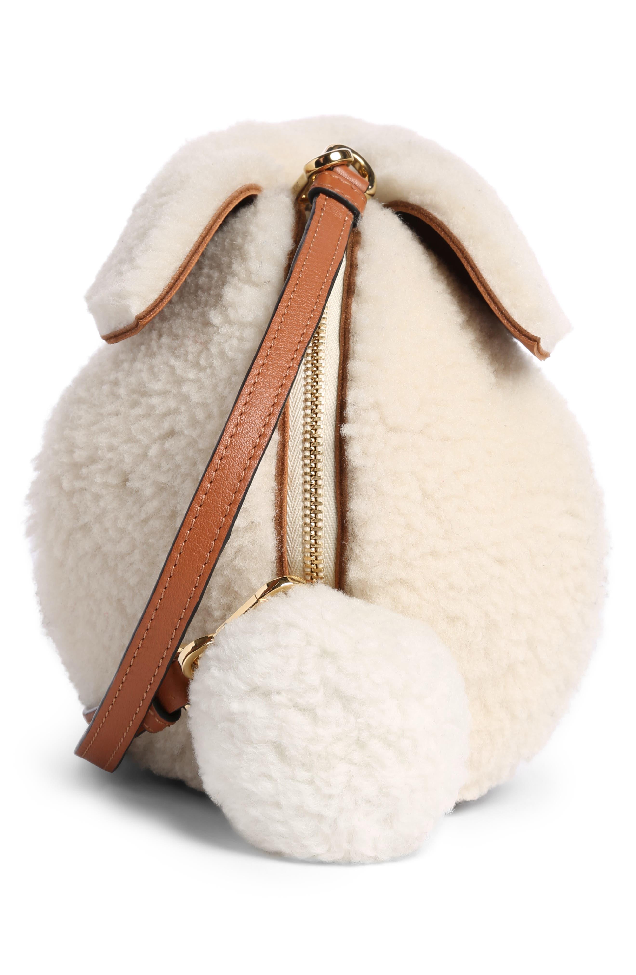 Mini Bunny Fuzzy Genuine Shearling Crossbody Bag,                             Alternate thumbnail 4, color,                             Natural