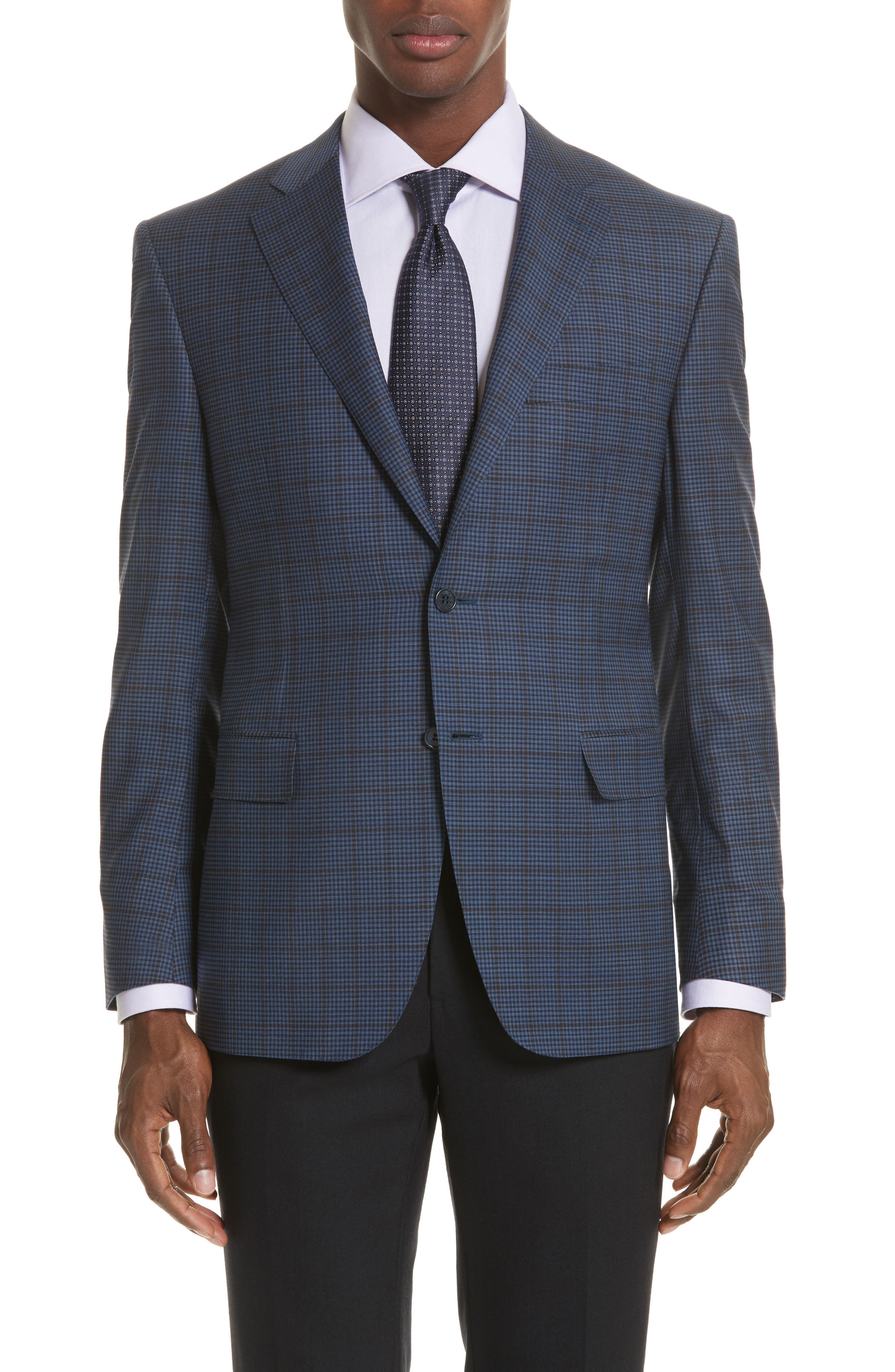 Classic Fit Check Wool Sport Coat,                         Main,                         color, Navy