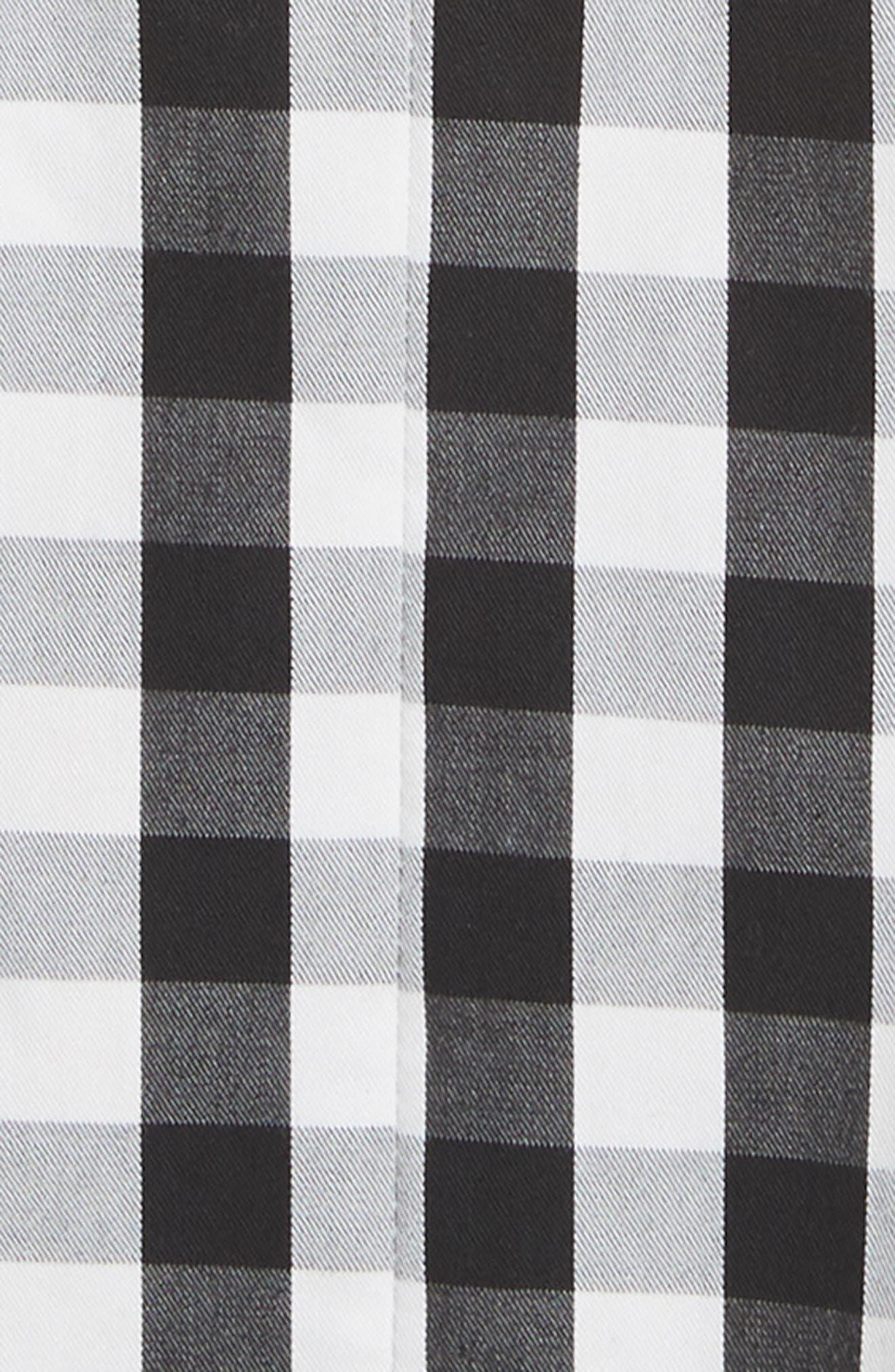 fiorella gingham fit & flare dress,                             Alternate thumbnail 5, color,                             Black