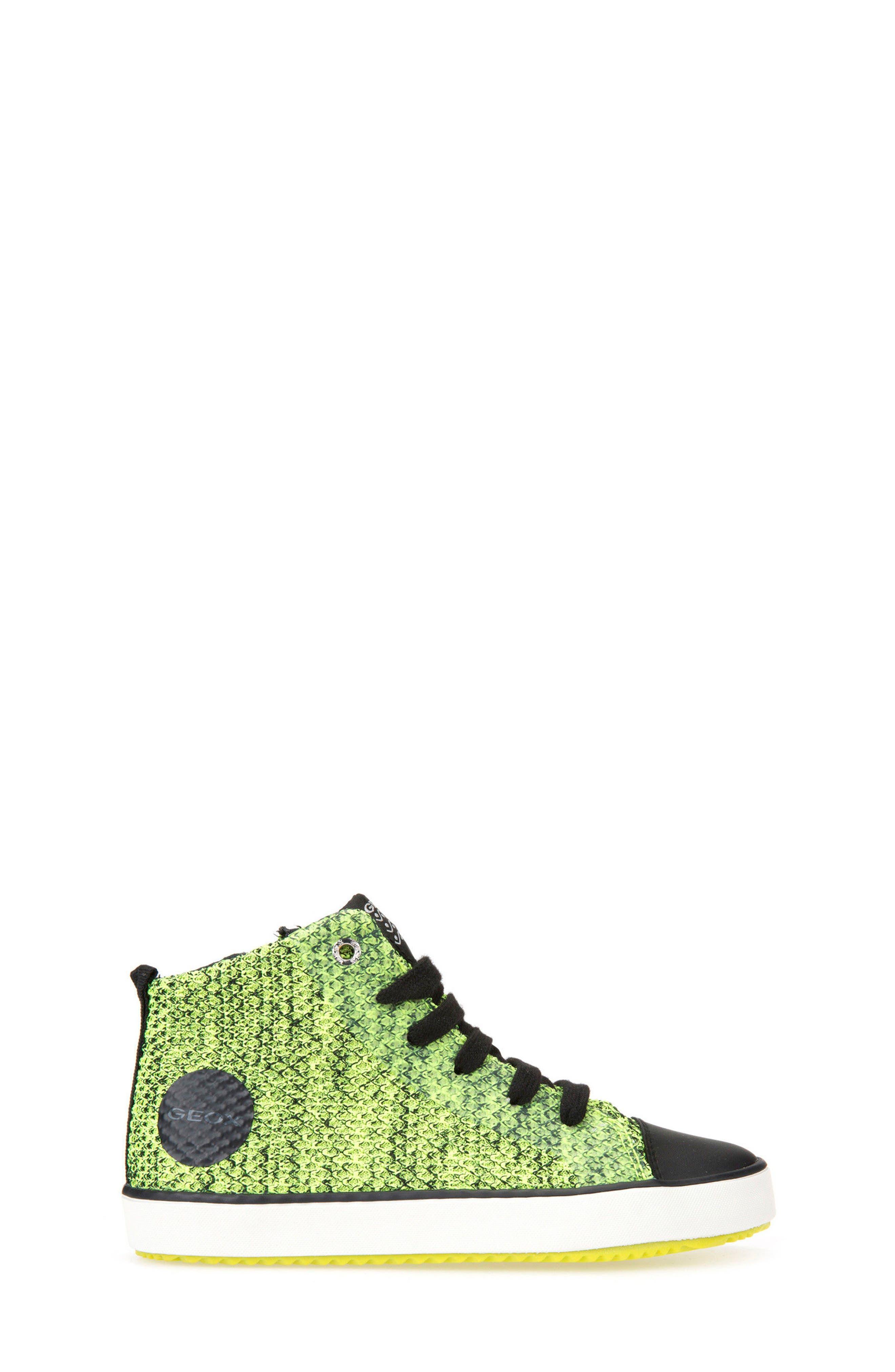 Alonisso Knit Mid Top Sneaker,                             Alternate thumbnail 3, color,                             Lime/ Black