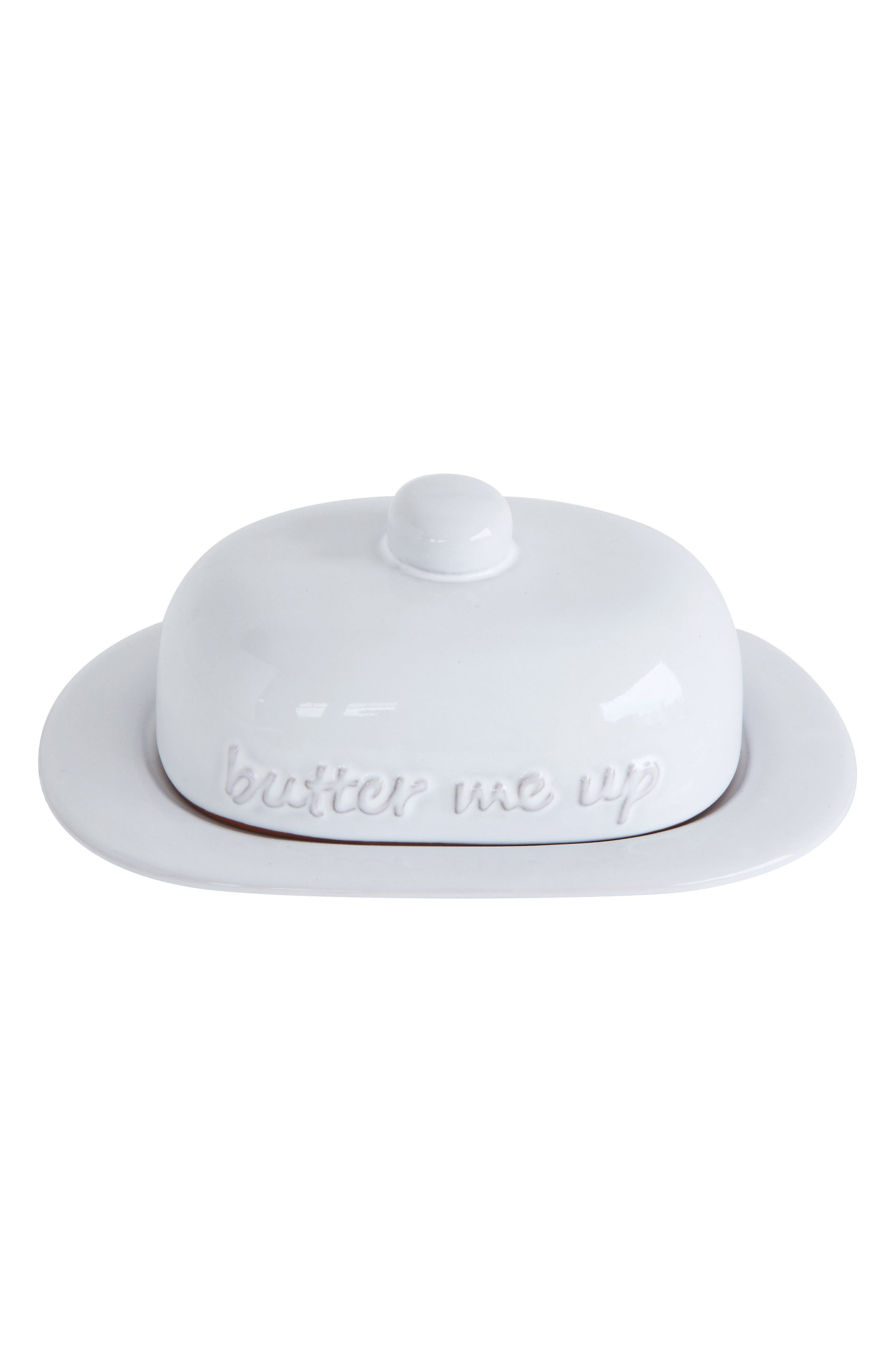 Butter Me Up Ceramic Butter Dish,                         Main,                         color, White