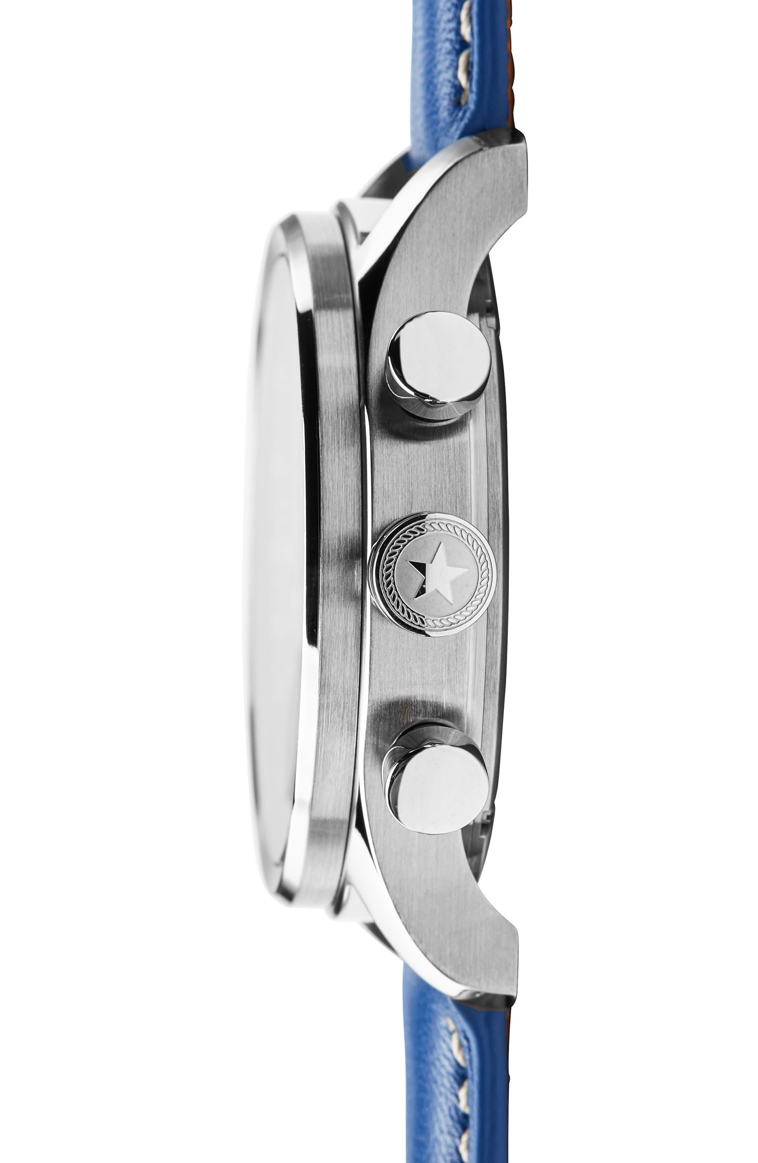 Nautical Chronograph Leather Strap Watch, 42mm,                             Alternate thumbnail 3, color,                             White/ Cobalt Blue