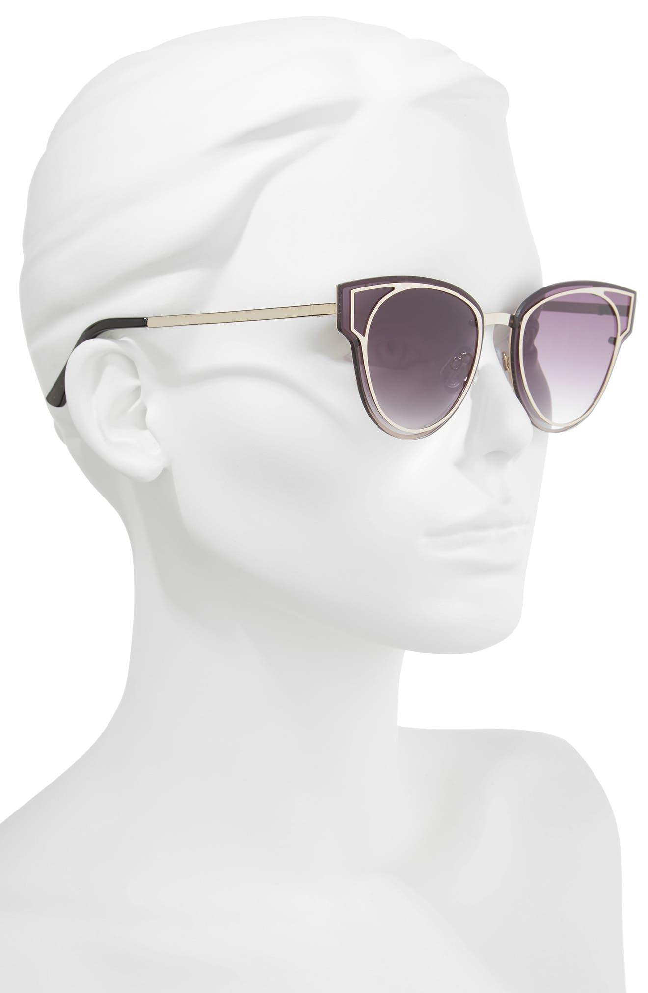 Geo Flat Metal Cutout Sunglasses,                             Alternate thumbnail 2, color,                             Gold/ Smoke