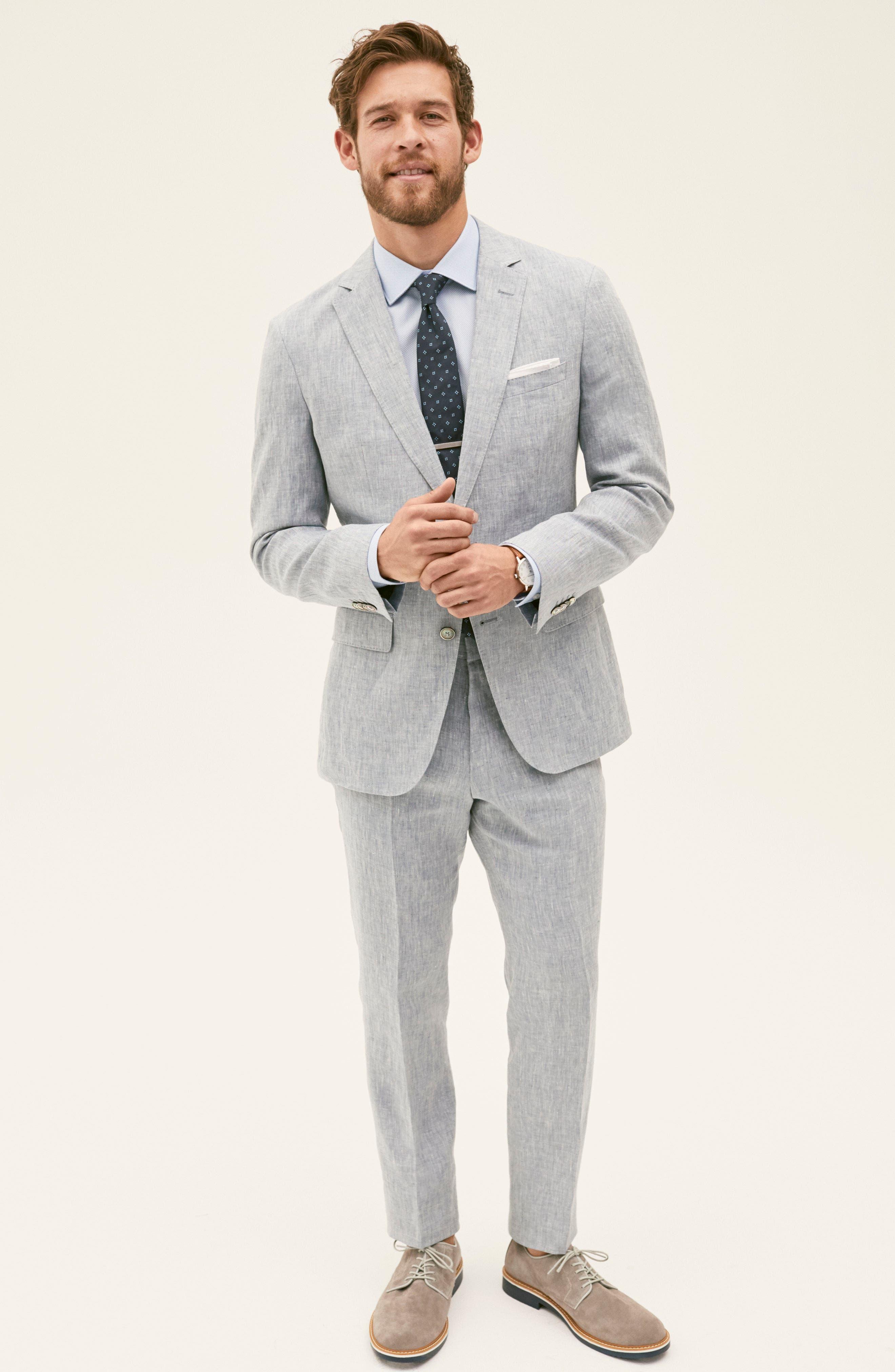 Helford/Gander Trim Fit Solid Linen Suit,                             Alternate thumbnail 8, color,