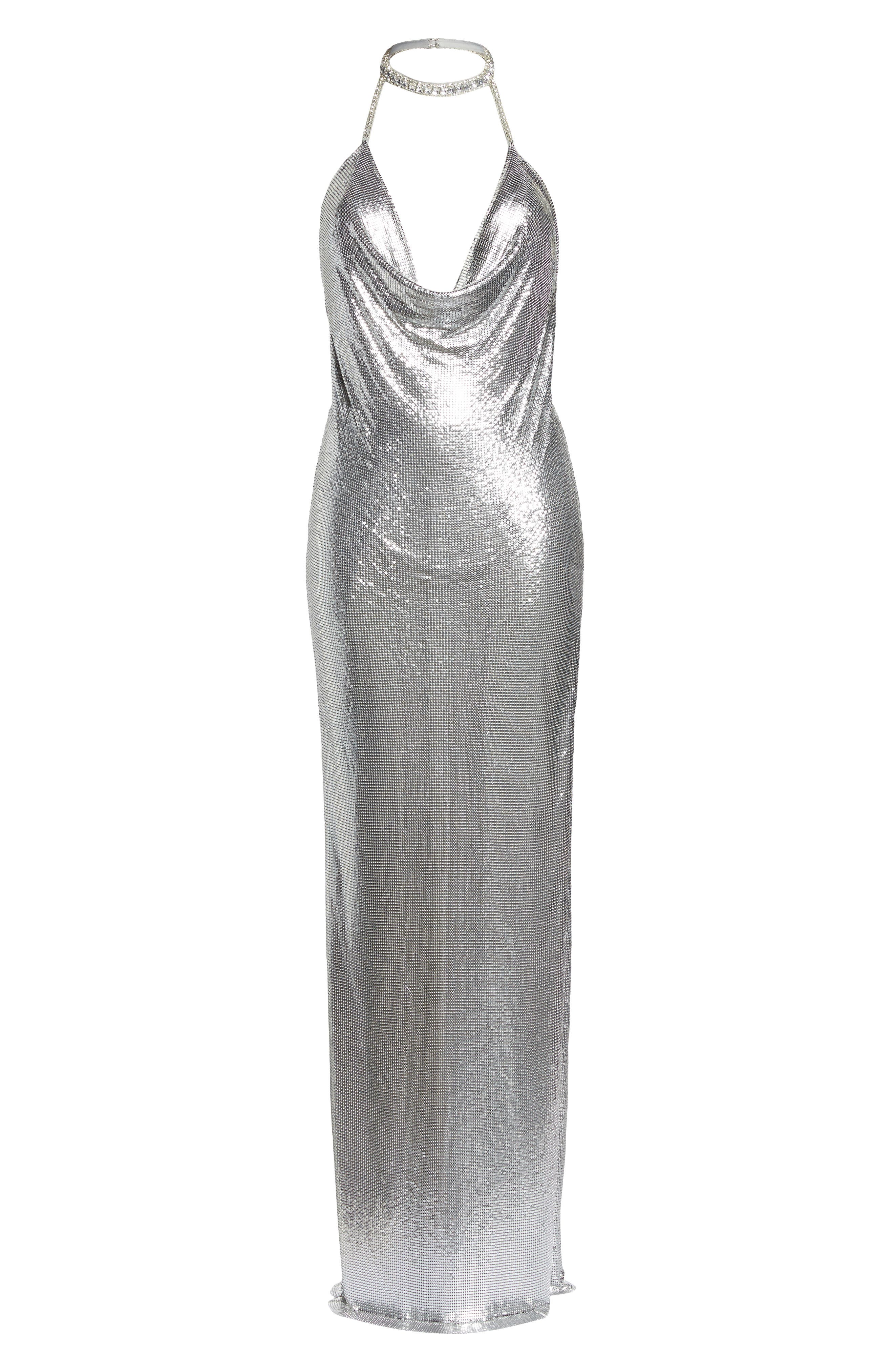 Jeweled Choker Column Gown,                             Alternate thumbnail 6, color,                             Silver