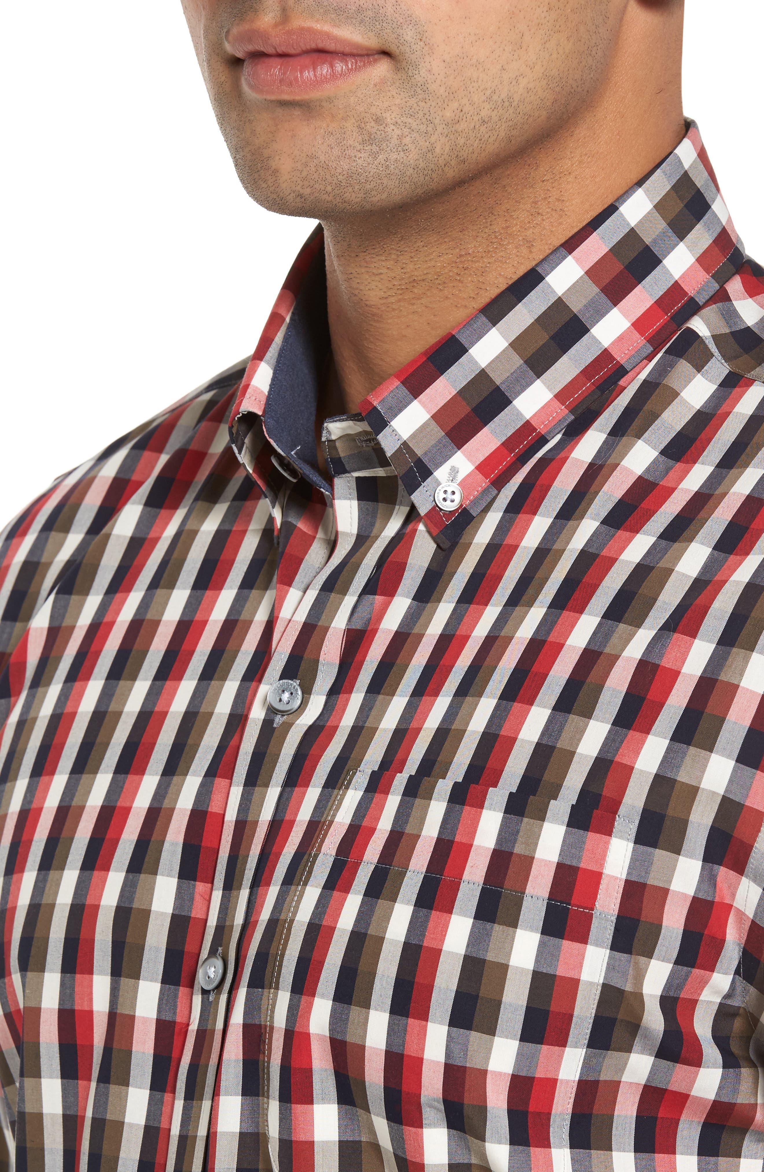 Sawyer Check Non-Iron Sport Shirt,                             Alternate thumbnail 4, color,                             Sedona