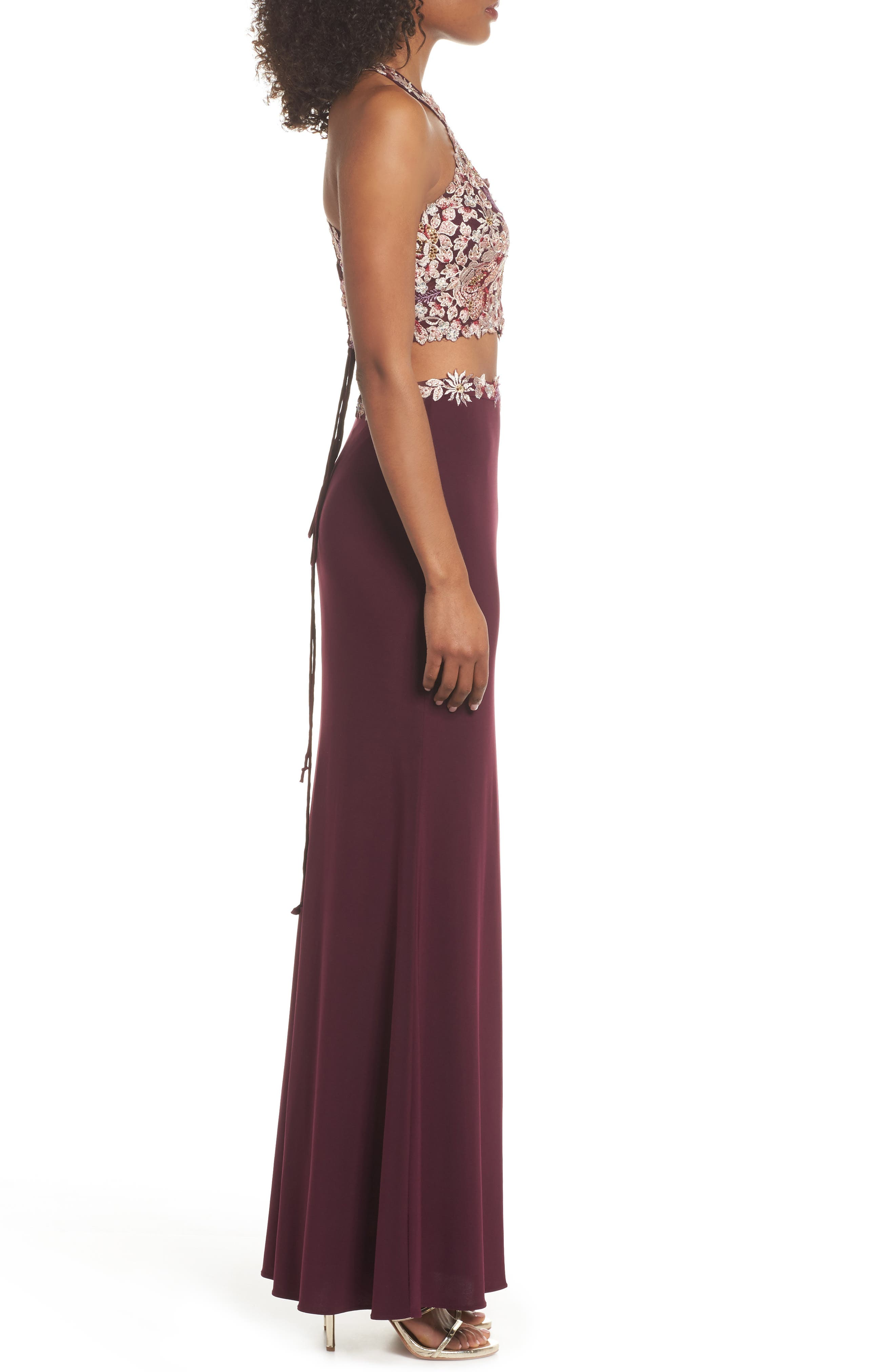 Embroidered Two-Piece Gown,                             Alternate thumbnail 3, color,                             Wine