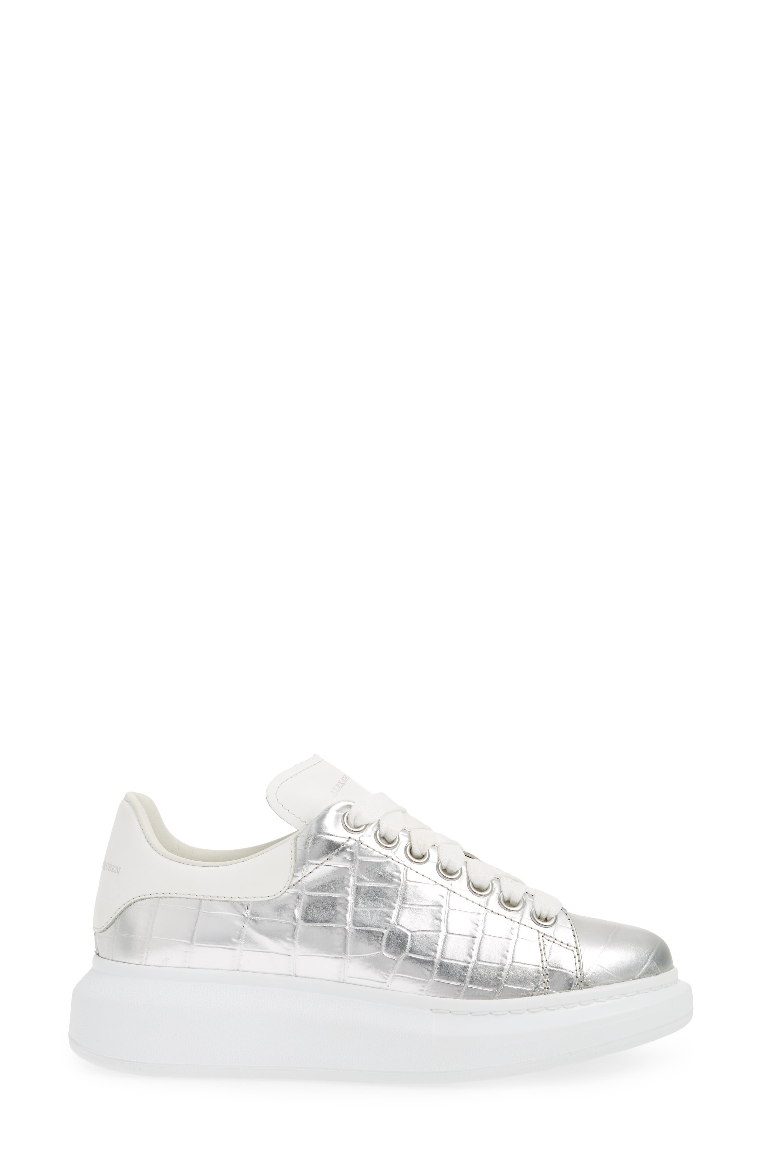 Croc Embossed Lace-Up Sneaker,                             Alternate thumbnail 3, color,                             Metallic Silver