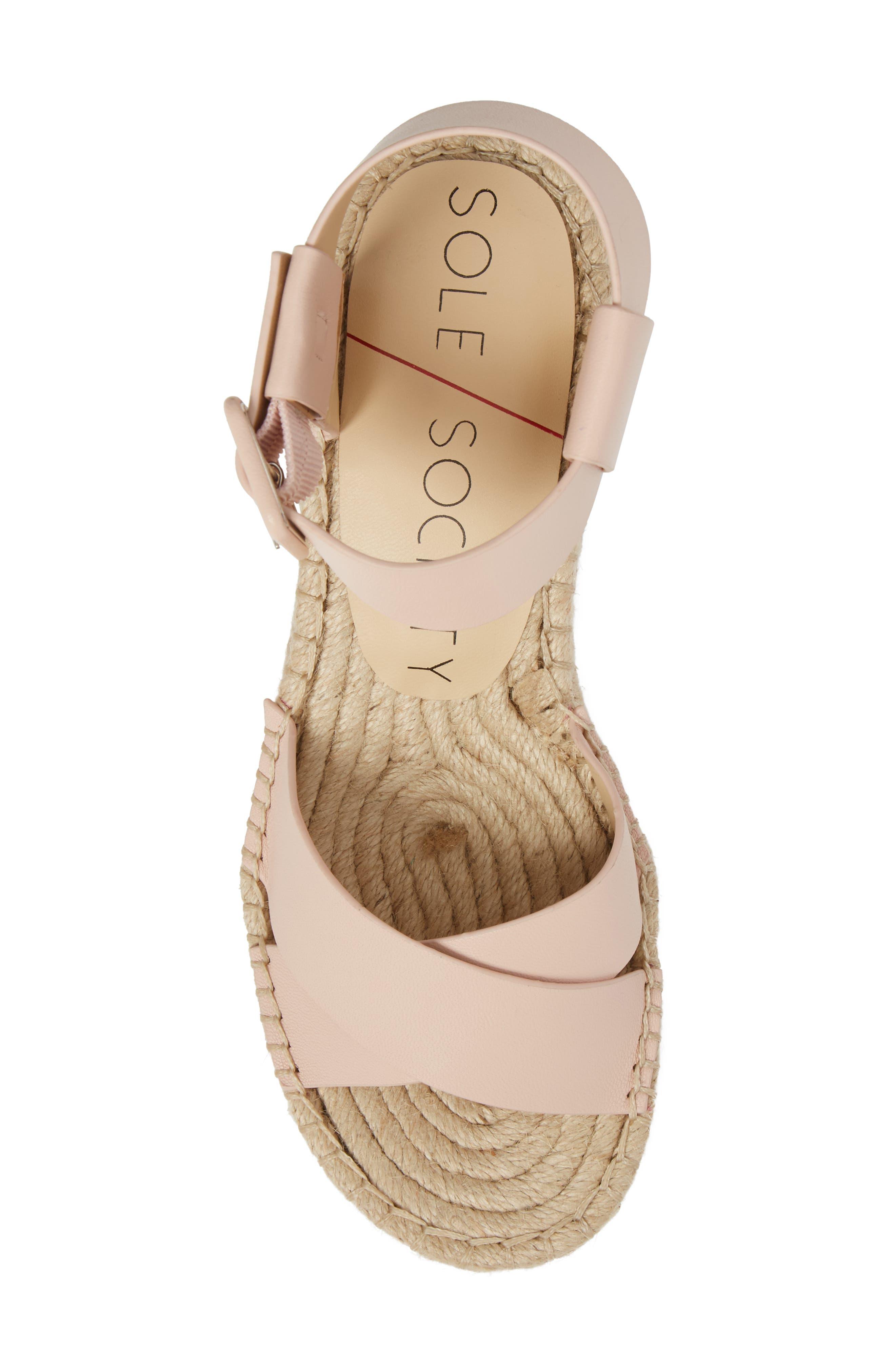 'Audrina' Platform Espadrille Sandal,                             Alternate thumbnail 5, color,                             Rose Blush