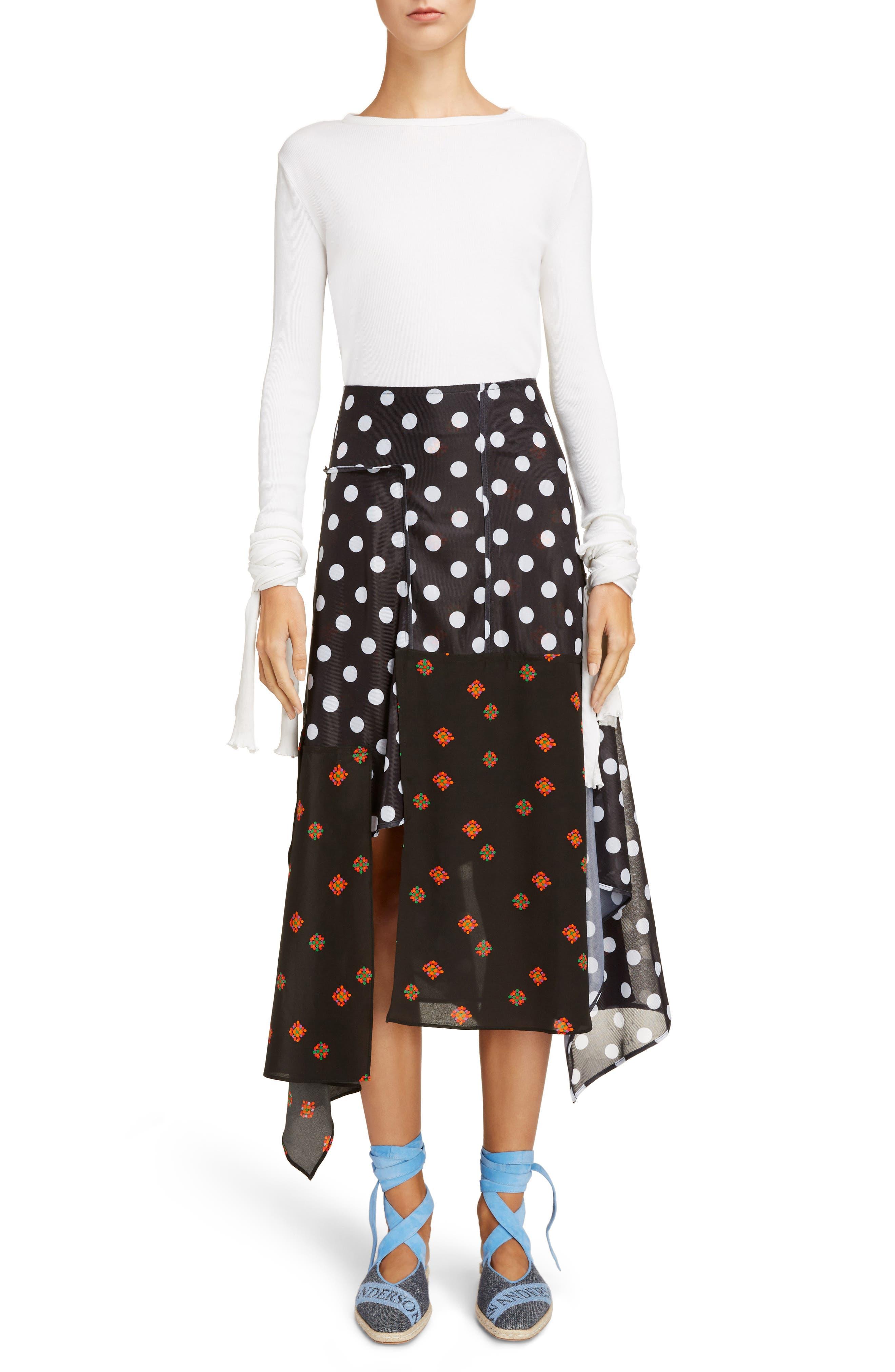 Polka Dot & Floral Panel Skirt,                             Alternate thumbnail 6, color,                             Black
